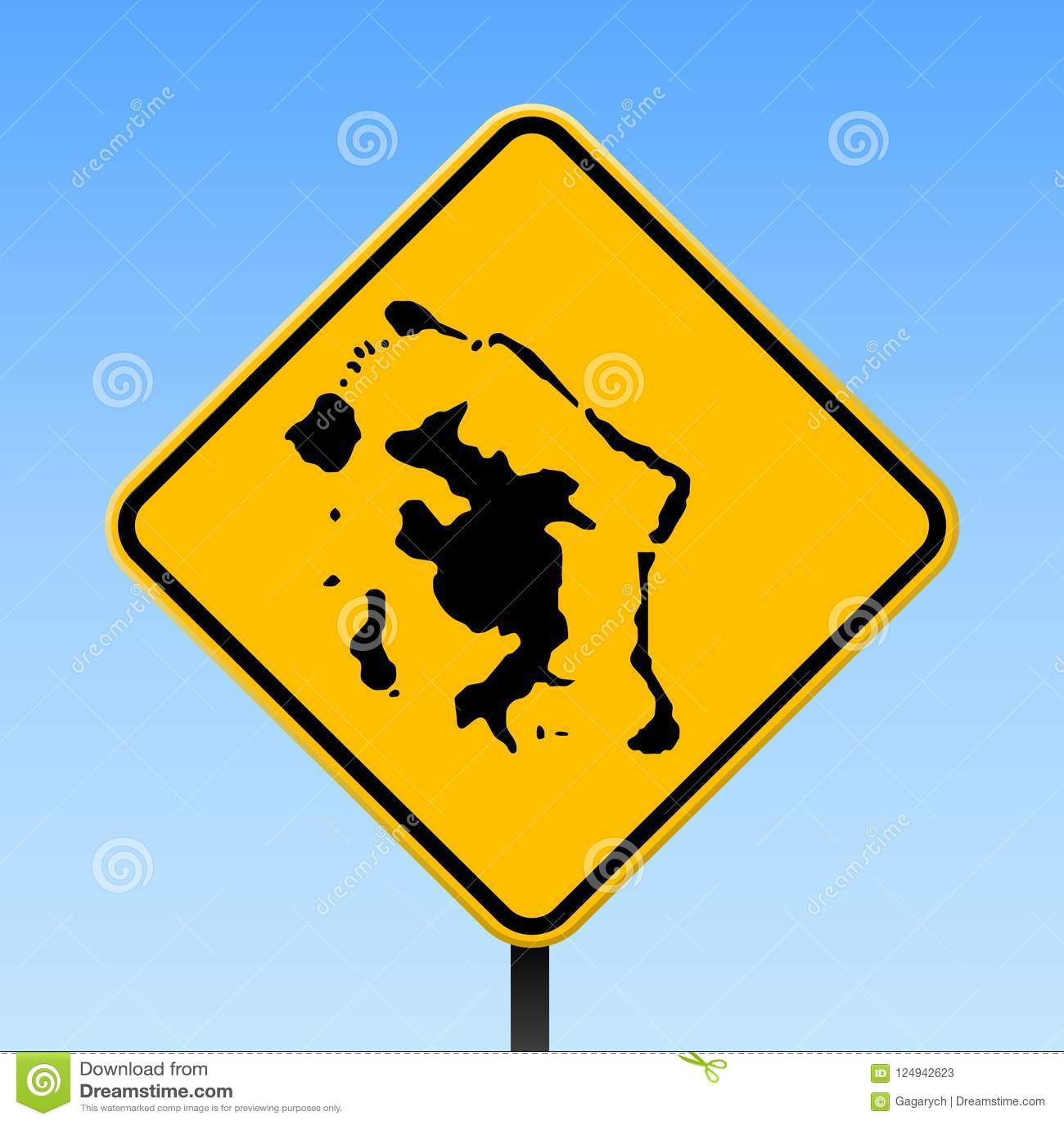 Bora Bora Map On Road Sign Stock Vector Illustration Of