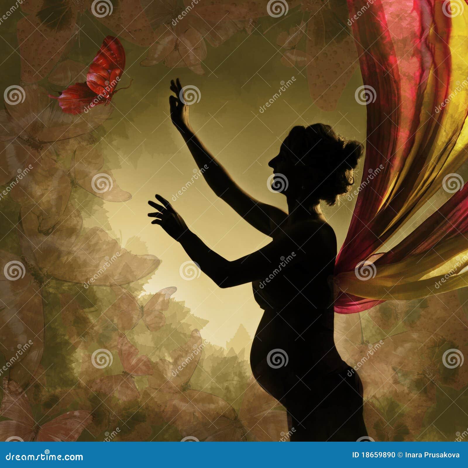 Borboleta de travamento da mulher gravida.