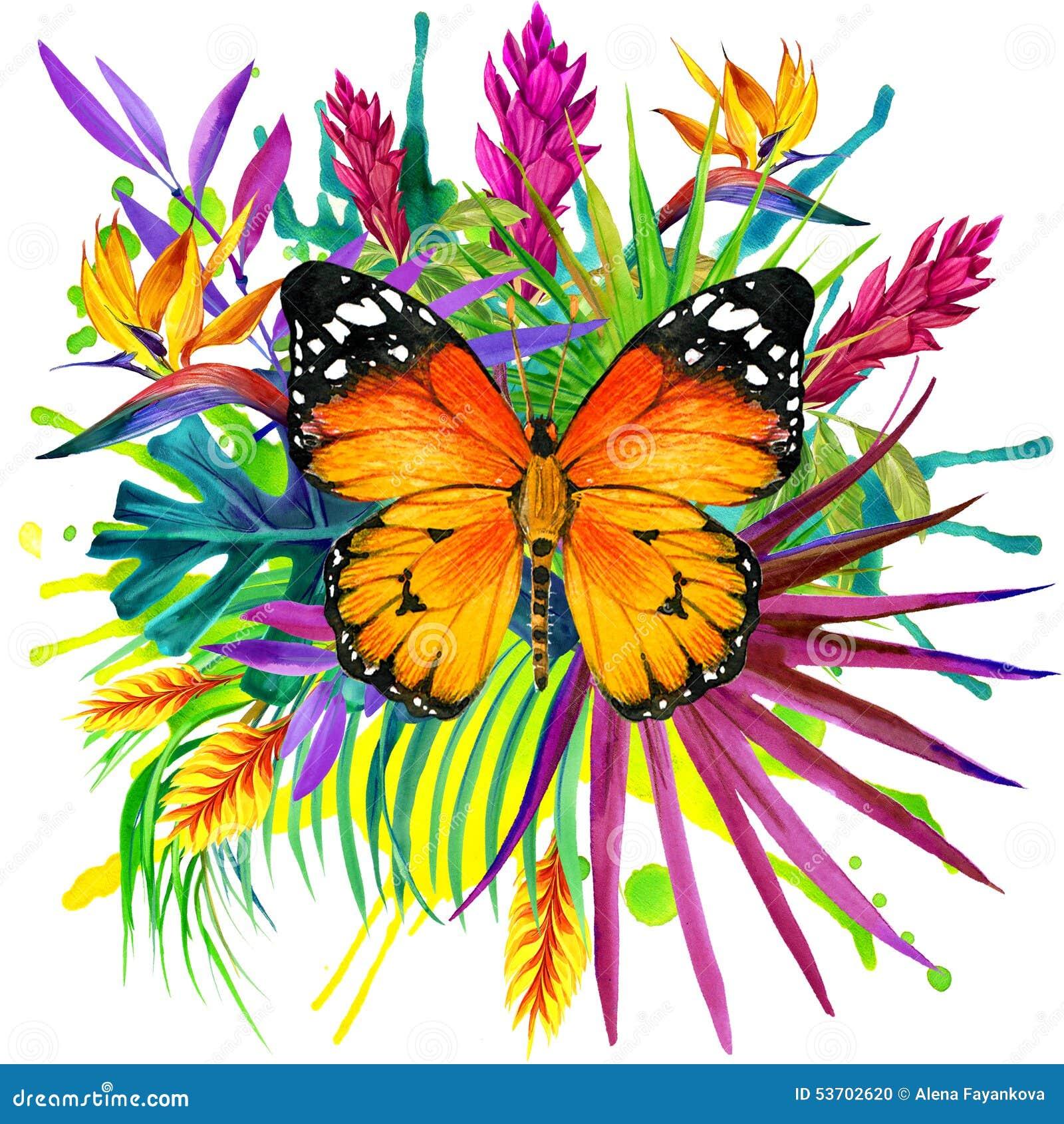 Borboleta, folhas tropicais e flor exótica