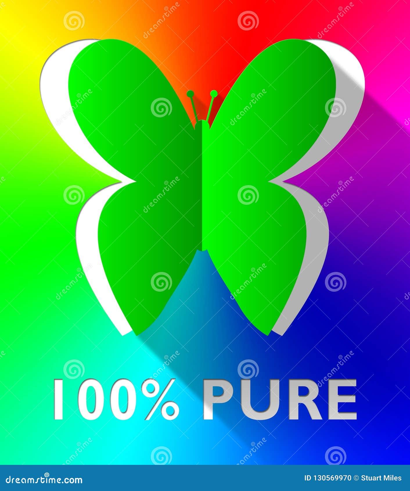 A borboleta pura de cem por cento mostra a ilustração 3d sa