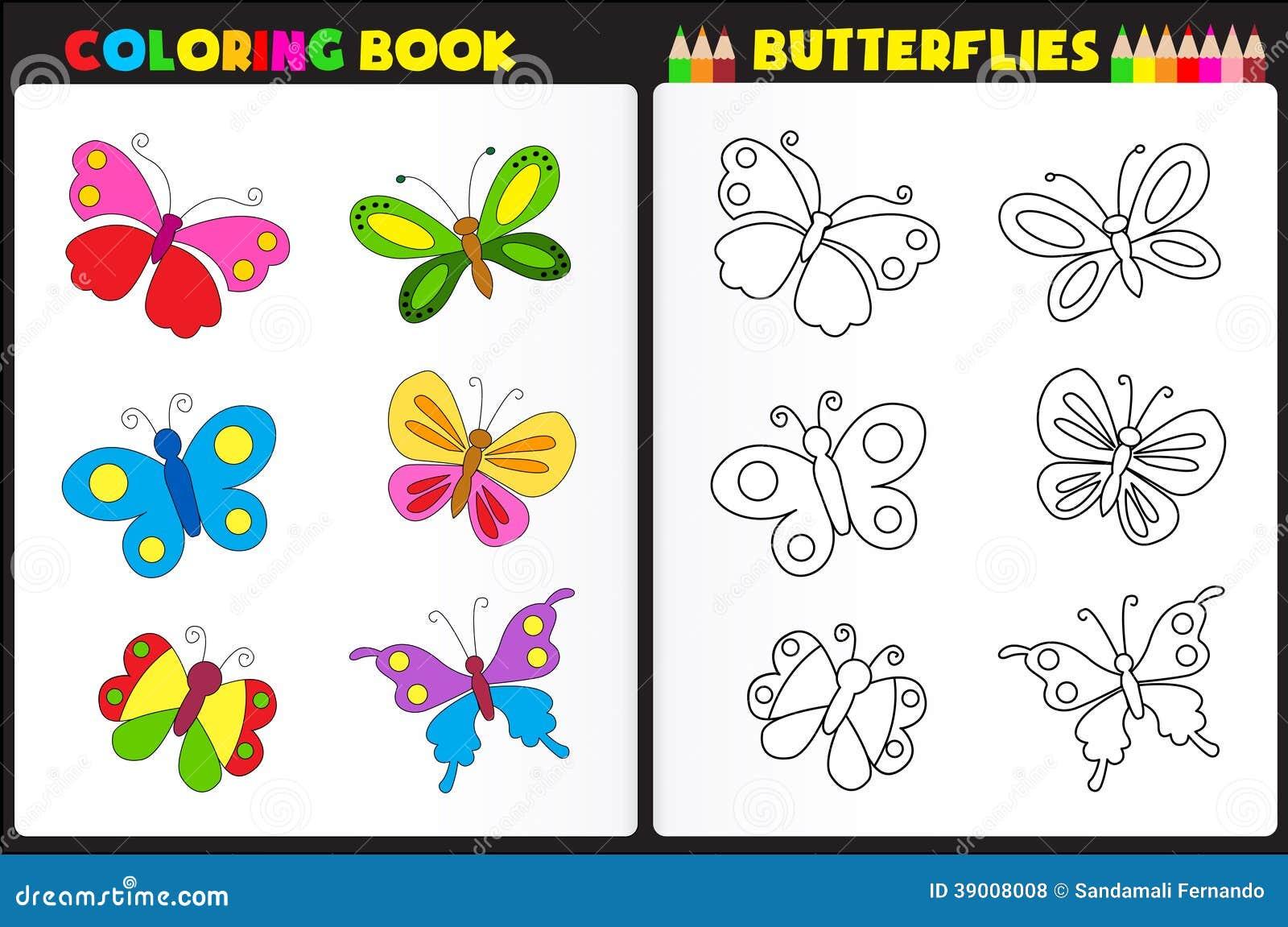Borboletas do livro para colorir