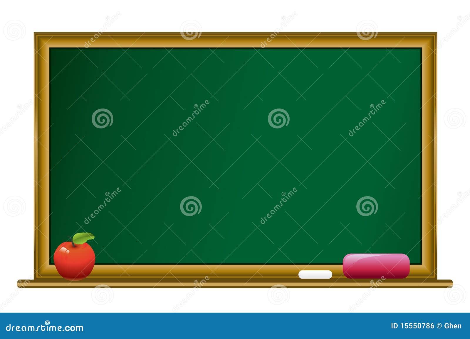 Bord met krijt en appel