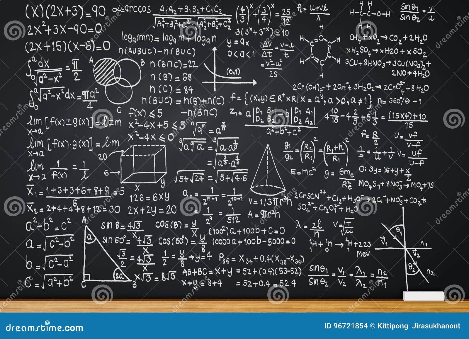 Bord met wiskundeformule