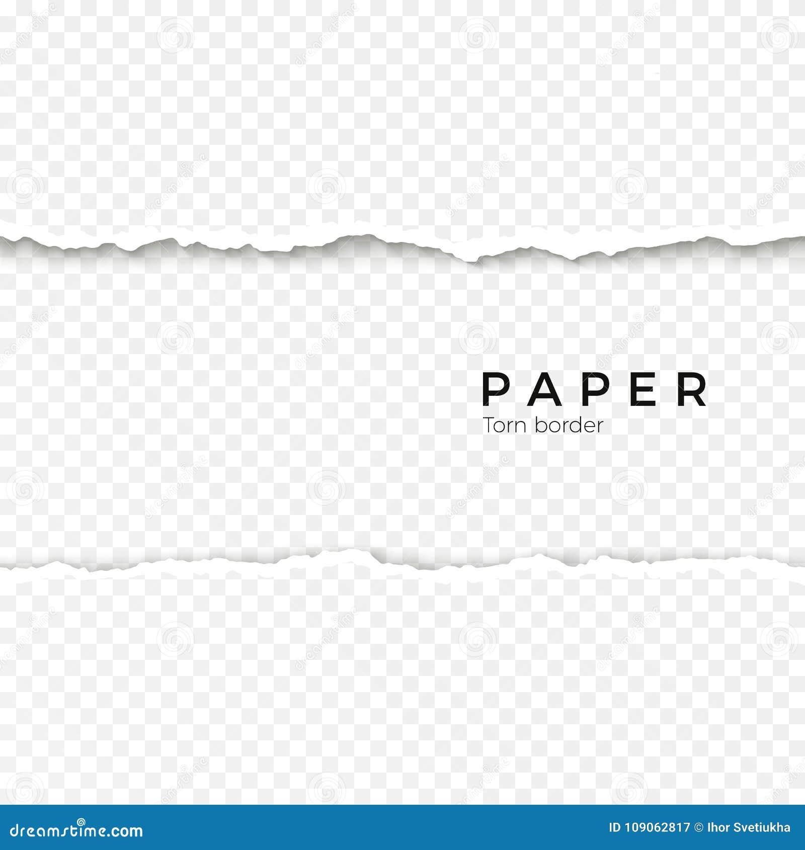 Borda de papel rasgada sem emenda horizontal Beira quebrada áspera da listra de papel Ilustração do vetor