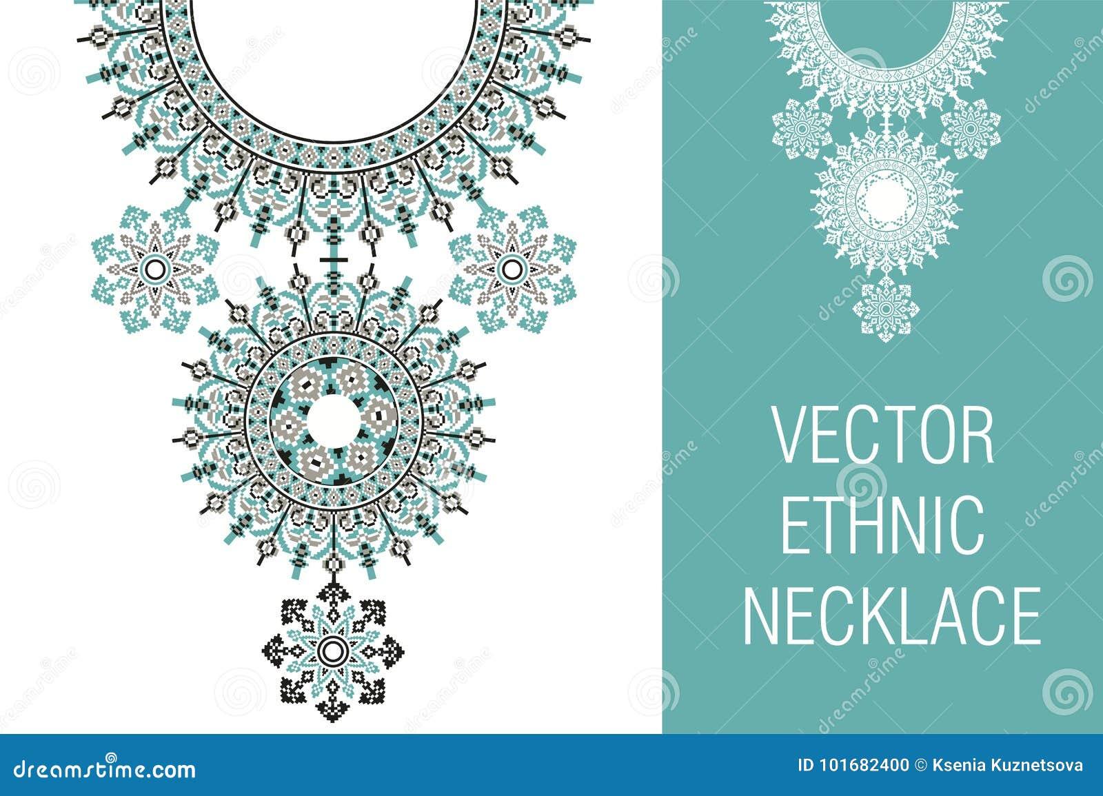Bordado étnico del collar del vector para las mujeres de la moda