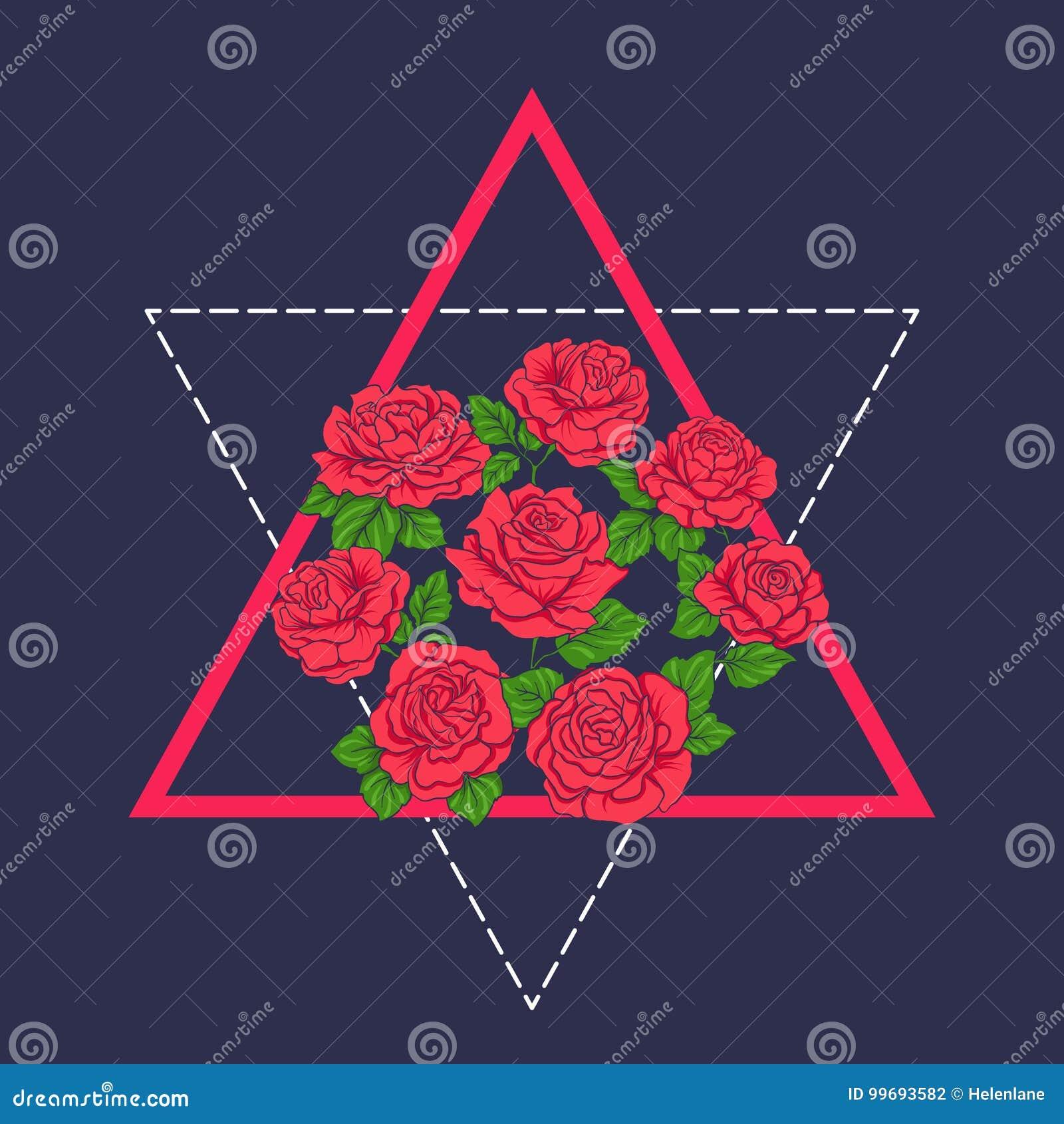 Bordado Con Las Rosas Rojas En Fondo Azul Ilustracion Del Vector