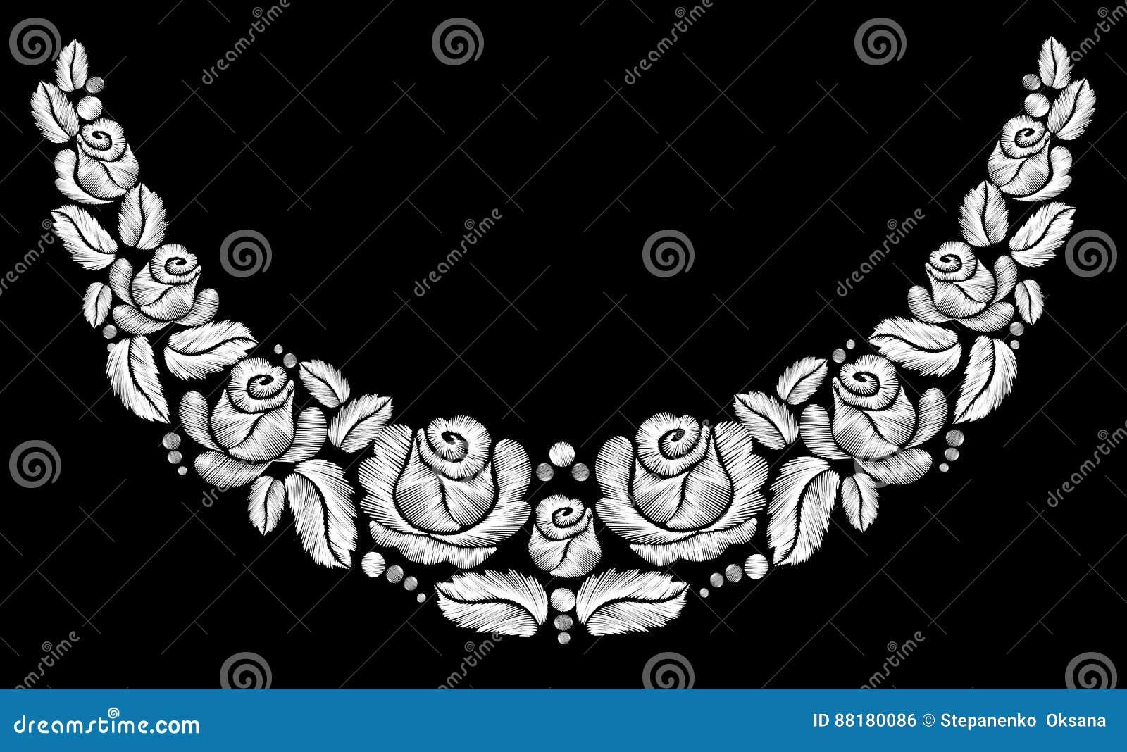 Bordado de las rosas blancas en fondo negro la línea étnica gráficos del cuello de las flores del diseño floral forma llevar