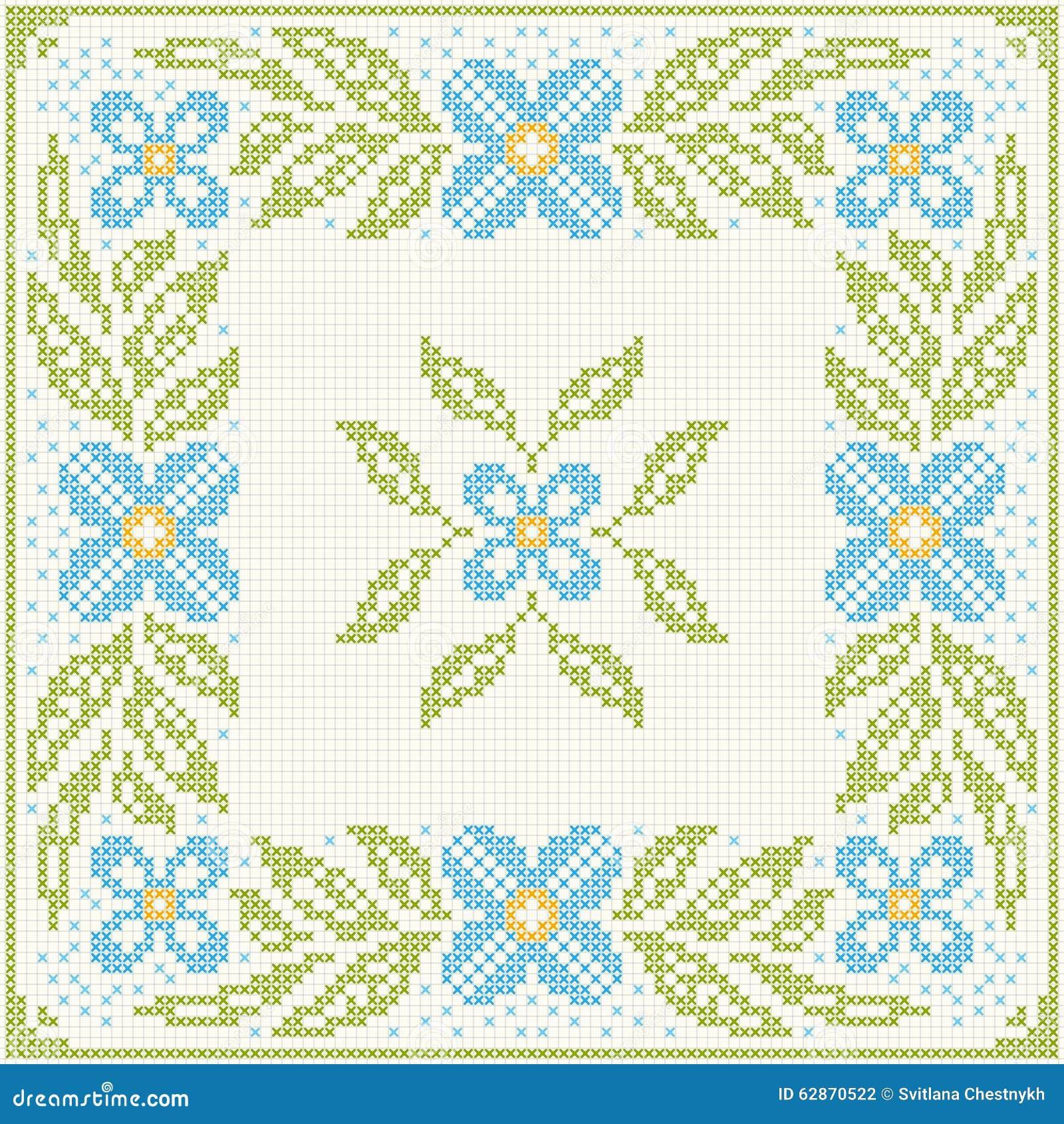 Bordado del punto de cruz flores y hojas ilustraci n del vector imagen 62870522 - Videos de punto de cruz ...