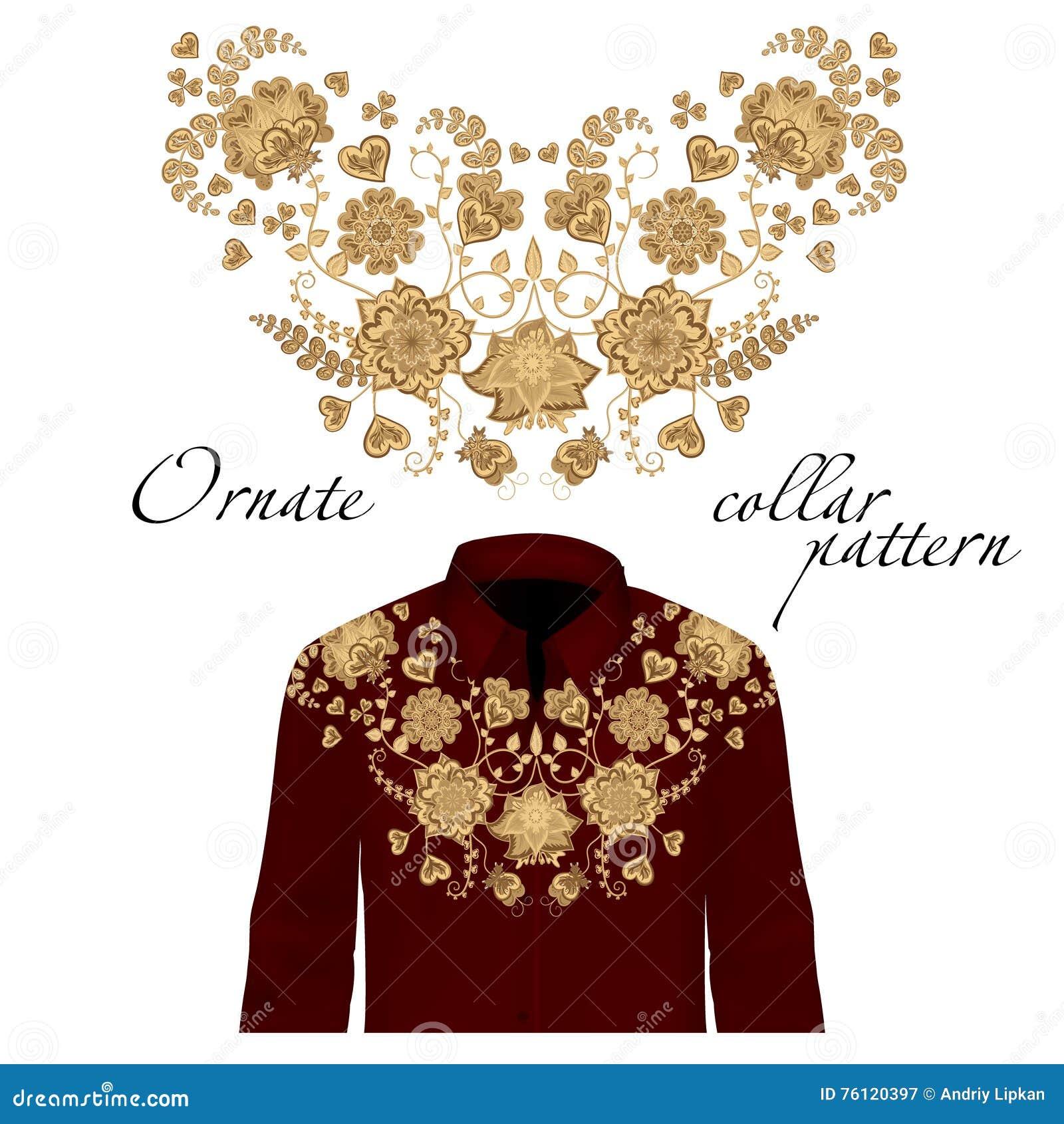 Bordado floral del cuello del rizo para las blusas Vector, ejemplo Decoración para la ropa Diseño delantero del cuello