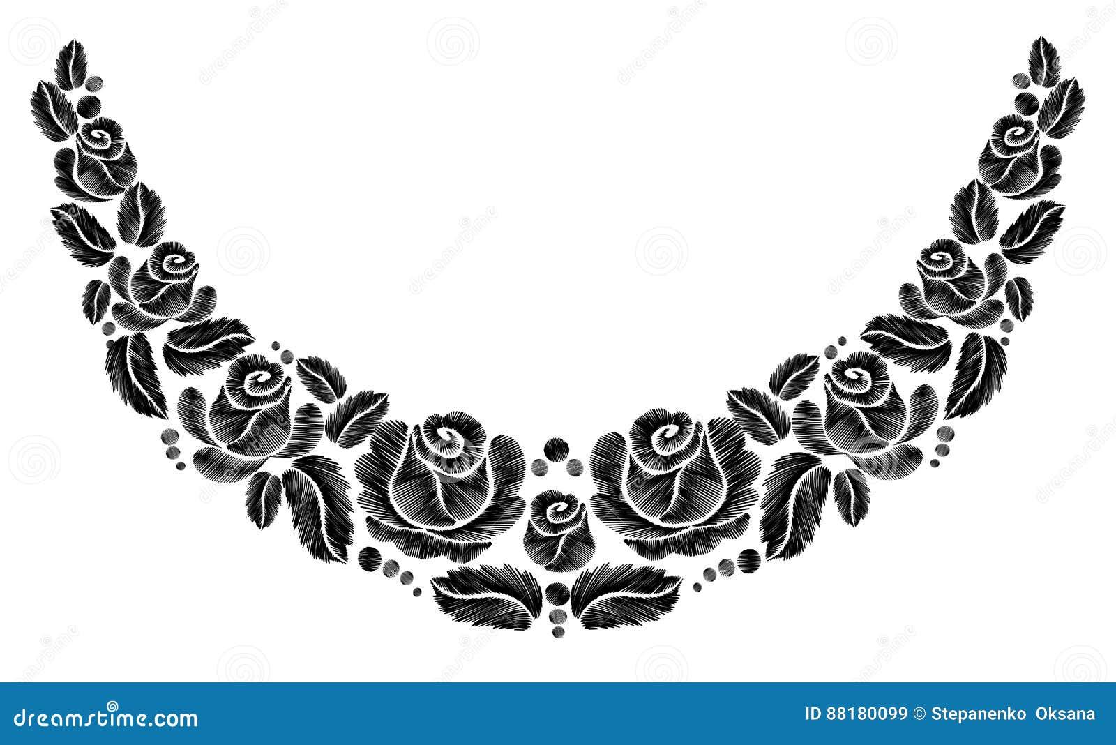 Bordado negro de las rosas en el fondo blanco la línea étnica gráficos del cuello de las flores del diseño floral forma llevar