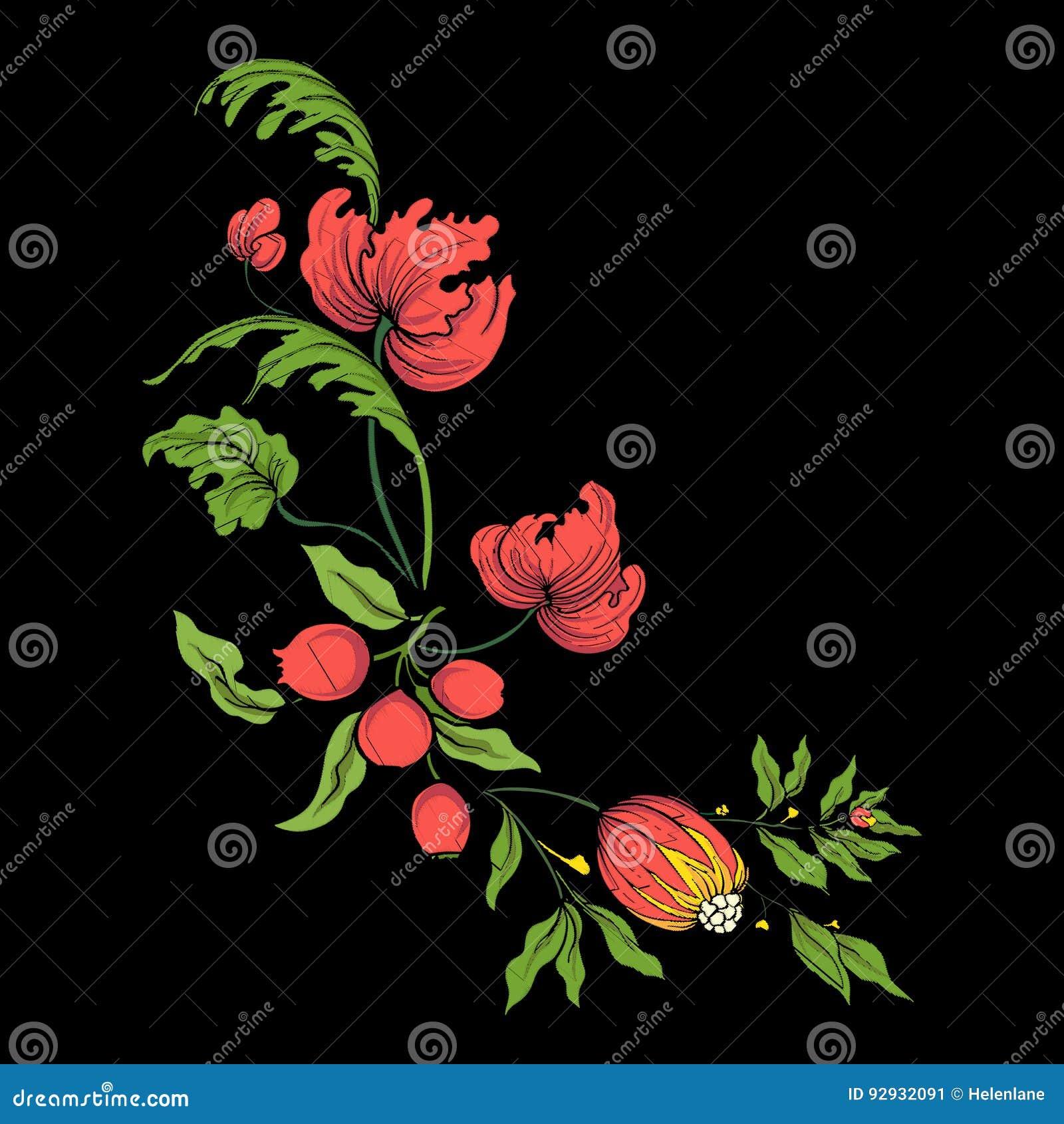 Bordado para la línea del cuello Ornamento floral en estilo del vintage