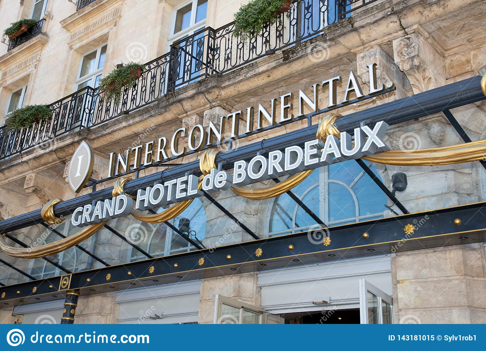 Bordeaux Aquitaine France March 22 2019 Intercontinental Bordeaux The Le Grand Hotel Luxury Hotel Located In Magnificent Editorial Image Image Of Romantic City 143181015