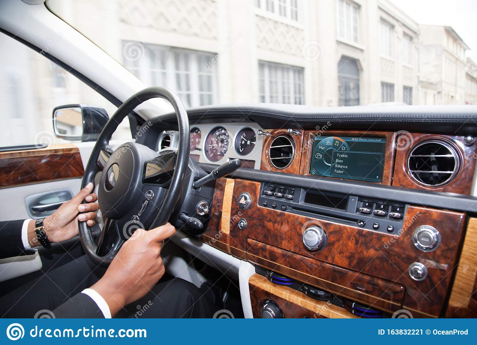 Bordeaux Aquitaine France 11 07 2019 Rolls Royce Phantom Interior View Of Luxury Car Dashboard Steering Wheel Supercar Editorial Photo Image Of Automobile Control 163832221