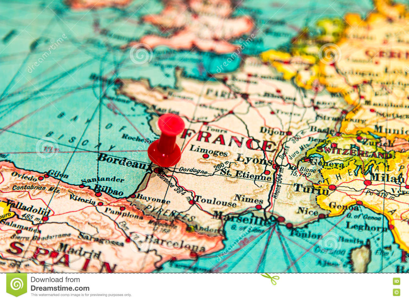 Bordeaux Map Of France.Bordeaux France Pinned On Vintage Map Of Europe Stock Photo Image