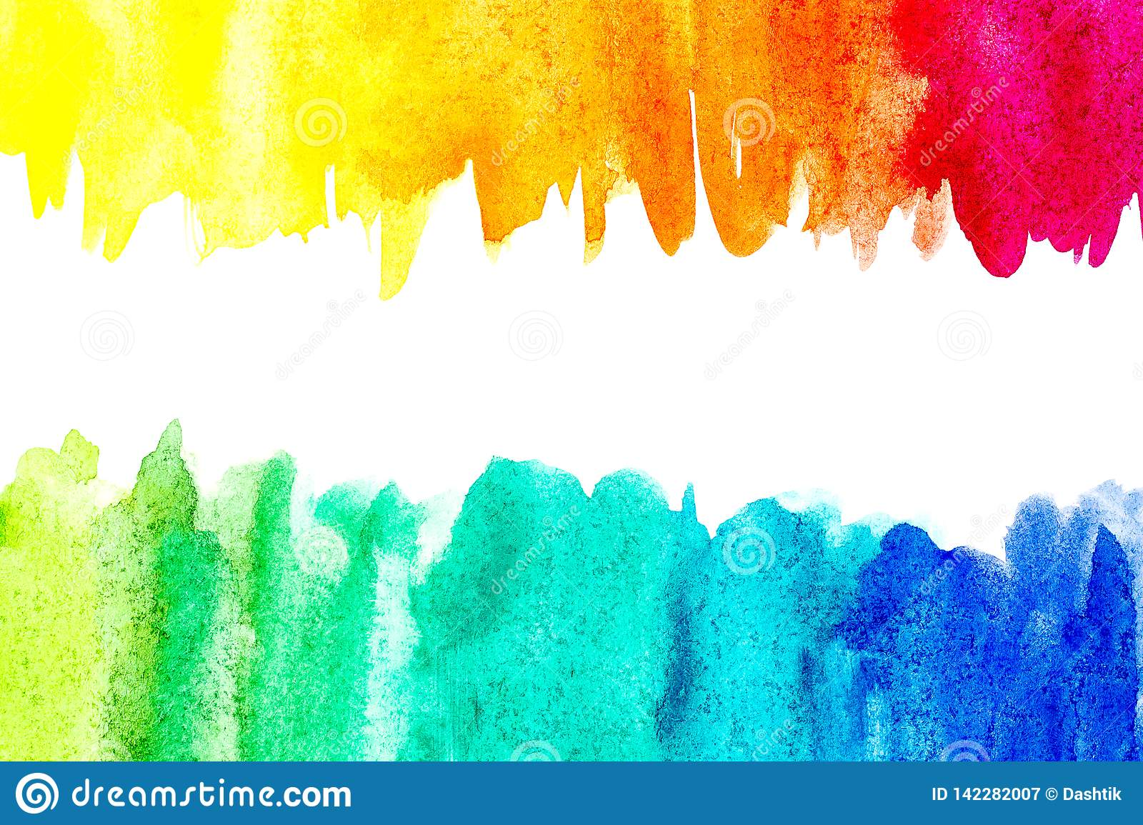 Border of abstract watercolor art hand paint on white background. Watercolor background