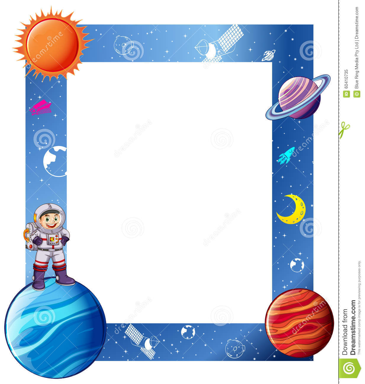 border with astronaut and solar system stock vector Astronaut Cartoon Clip Art Astronaut Graphic