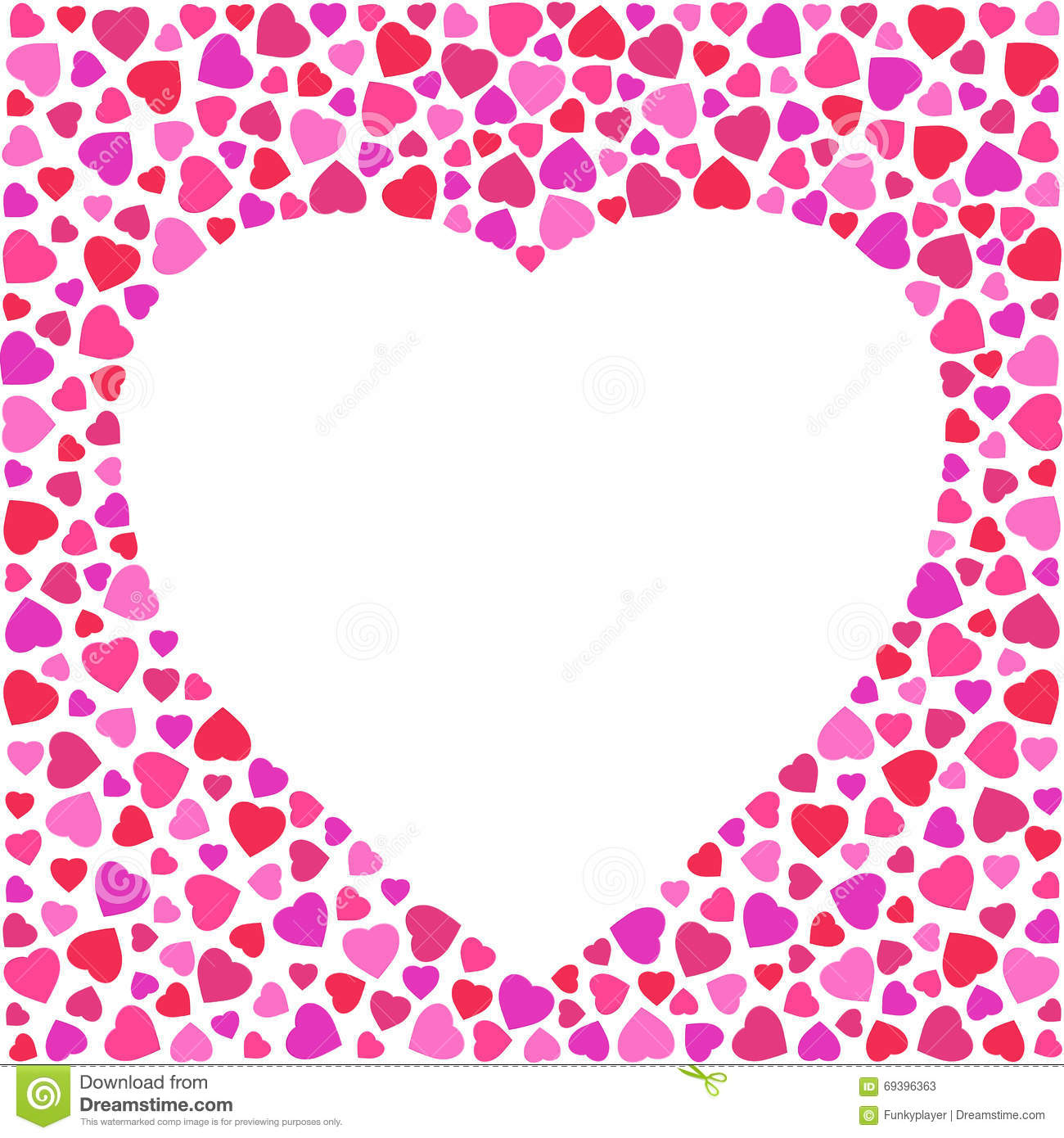 border with bright hearts on white background  greeting