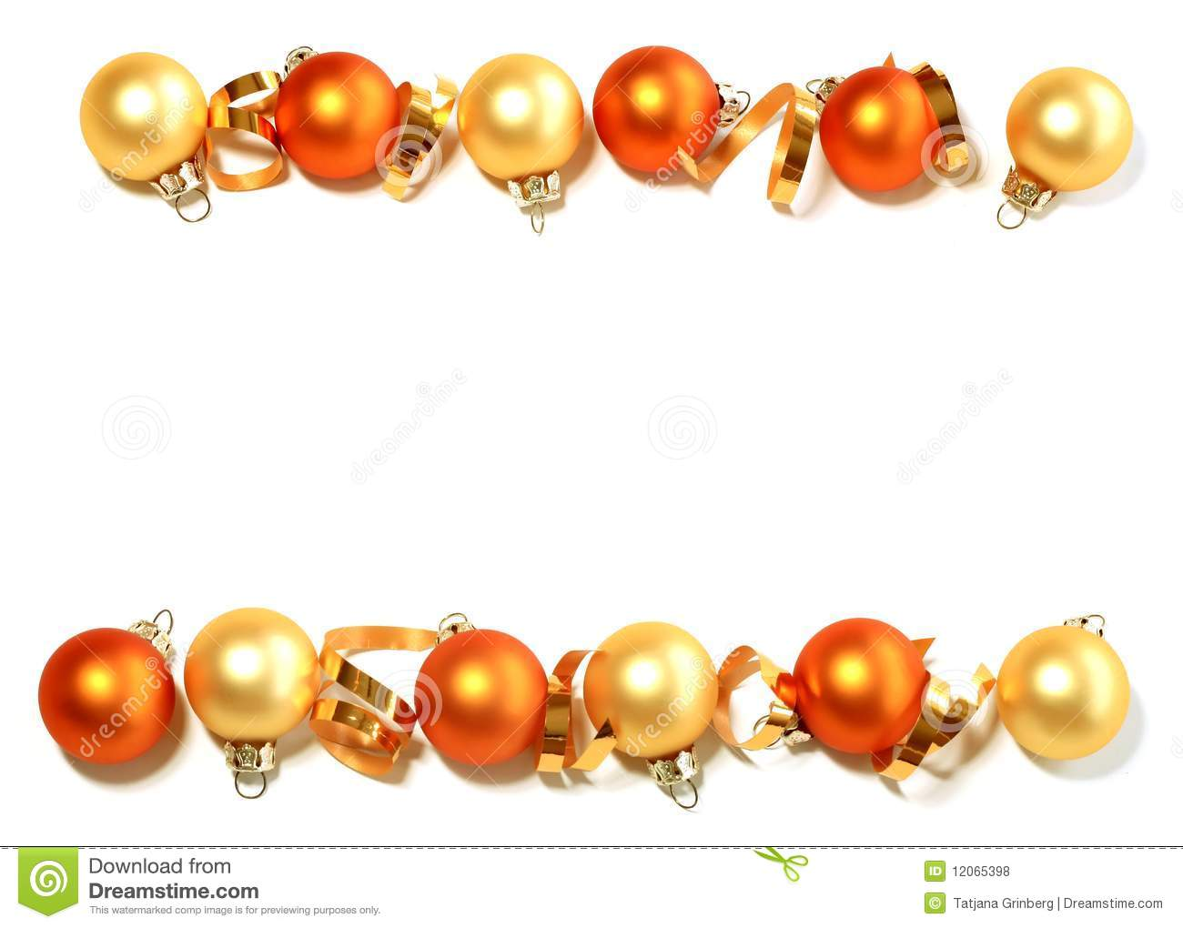 Border from christmas balls isolated on white stock photo