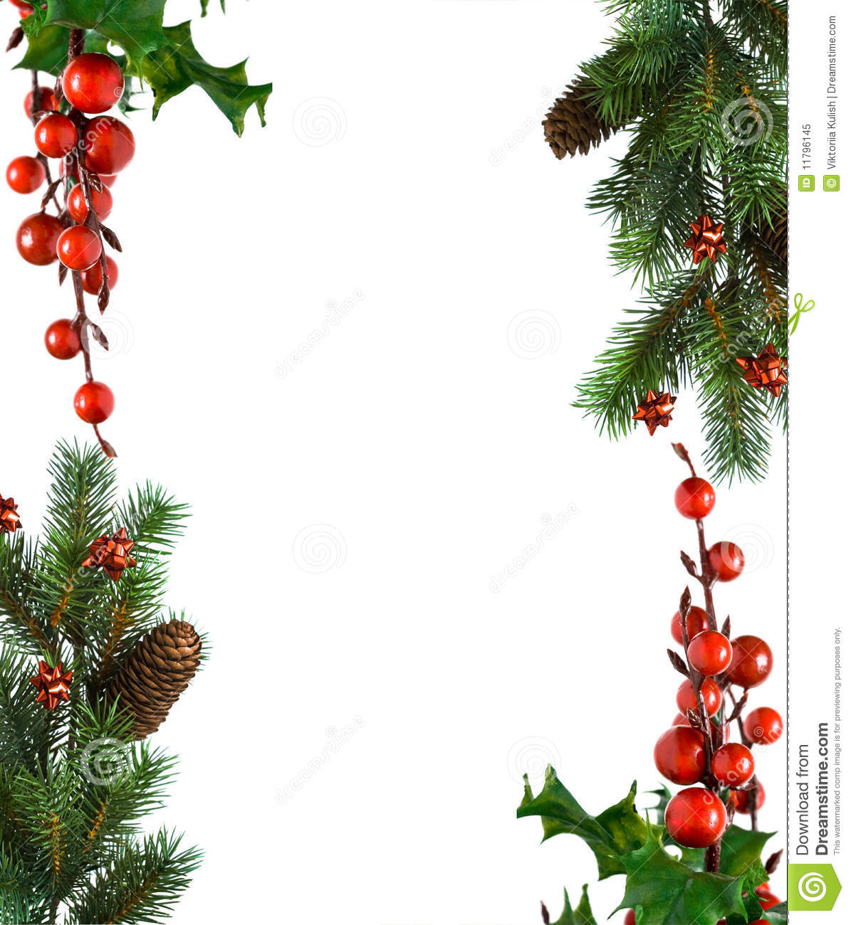Border From Christmas Branches Royalty Free Stock Photo - Image ...
