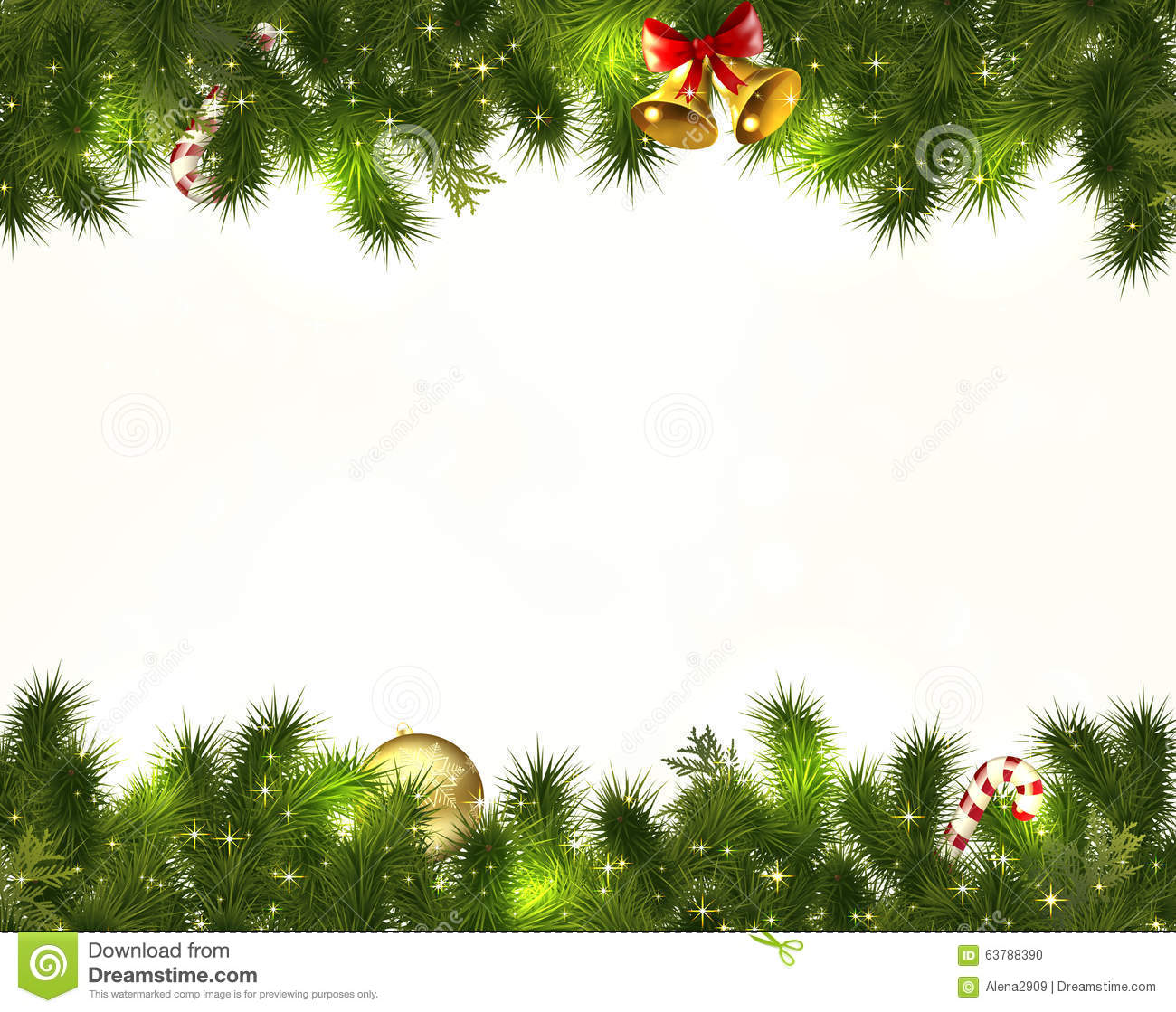 Border christmas decorations on white premise stock