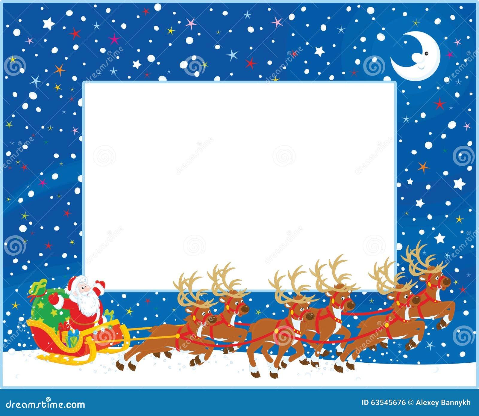 Border With Christmas Sleigh Of Santa Claus Stock Vector ...