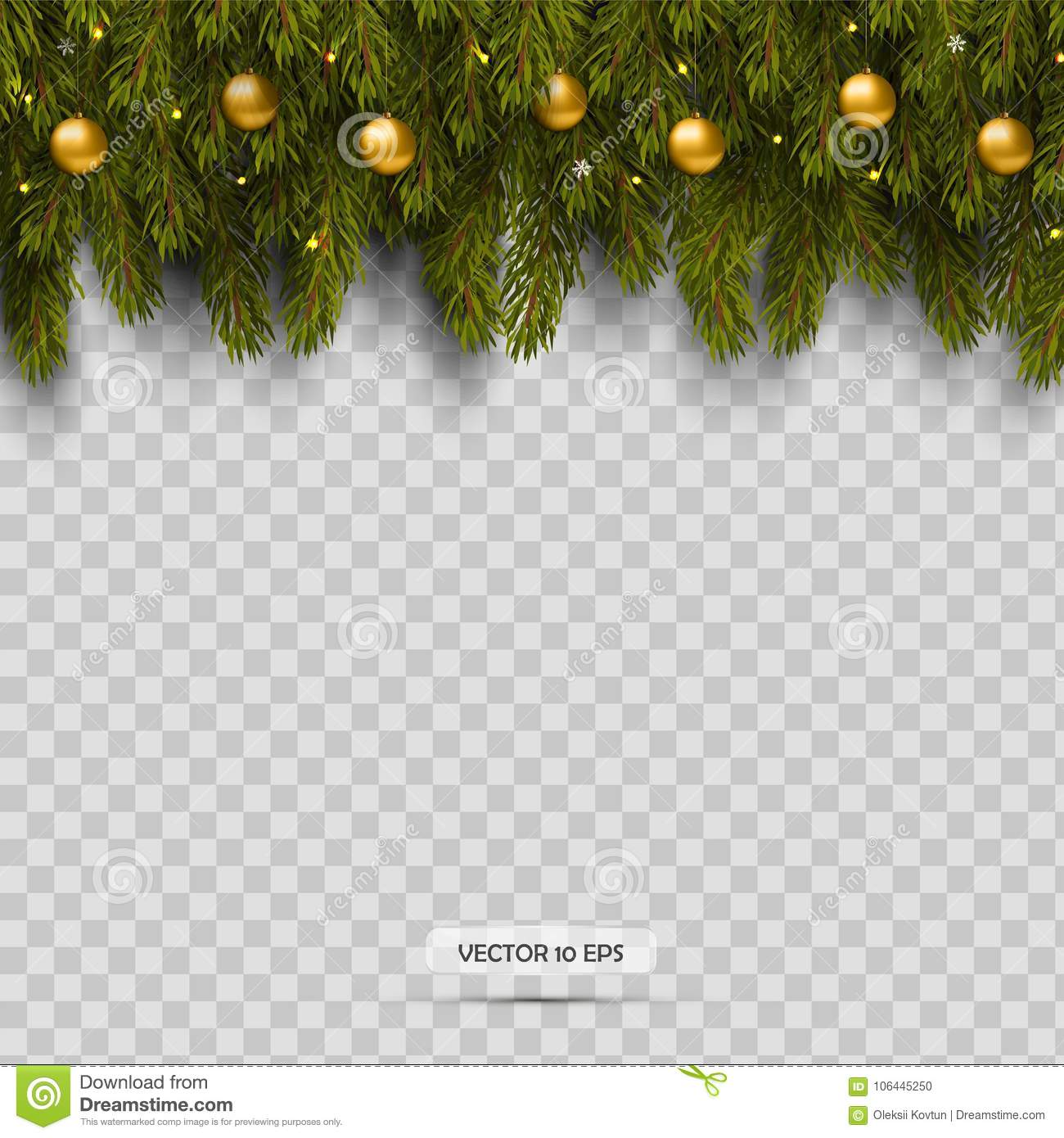 Border With Christmas Tree Branches And Ornaments With Balls