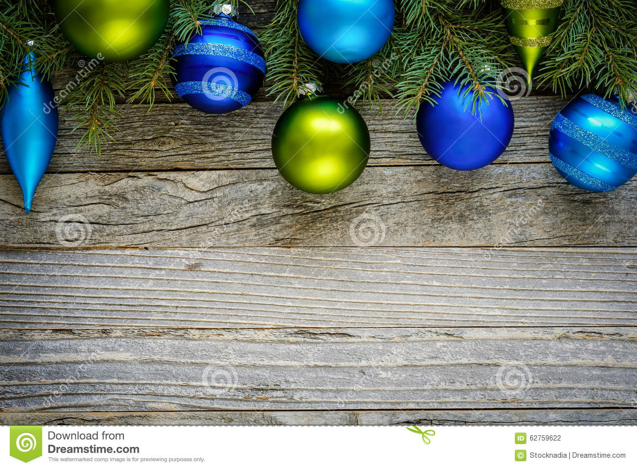Border Of Christmas Tree Branches With Ornaments Stock