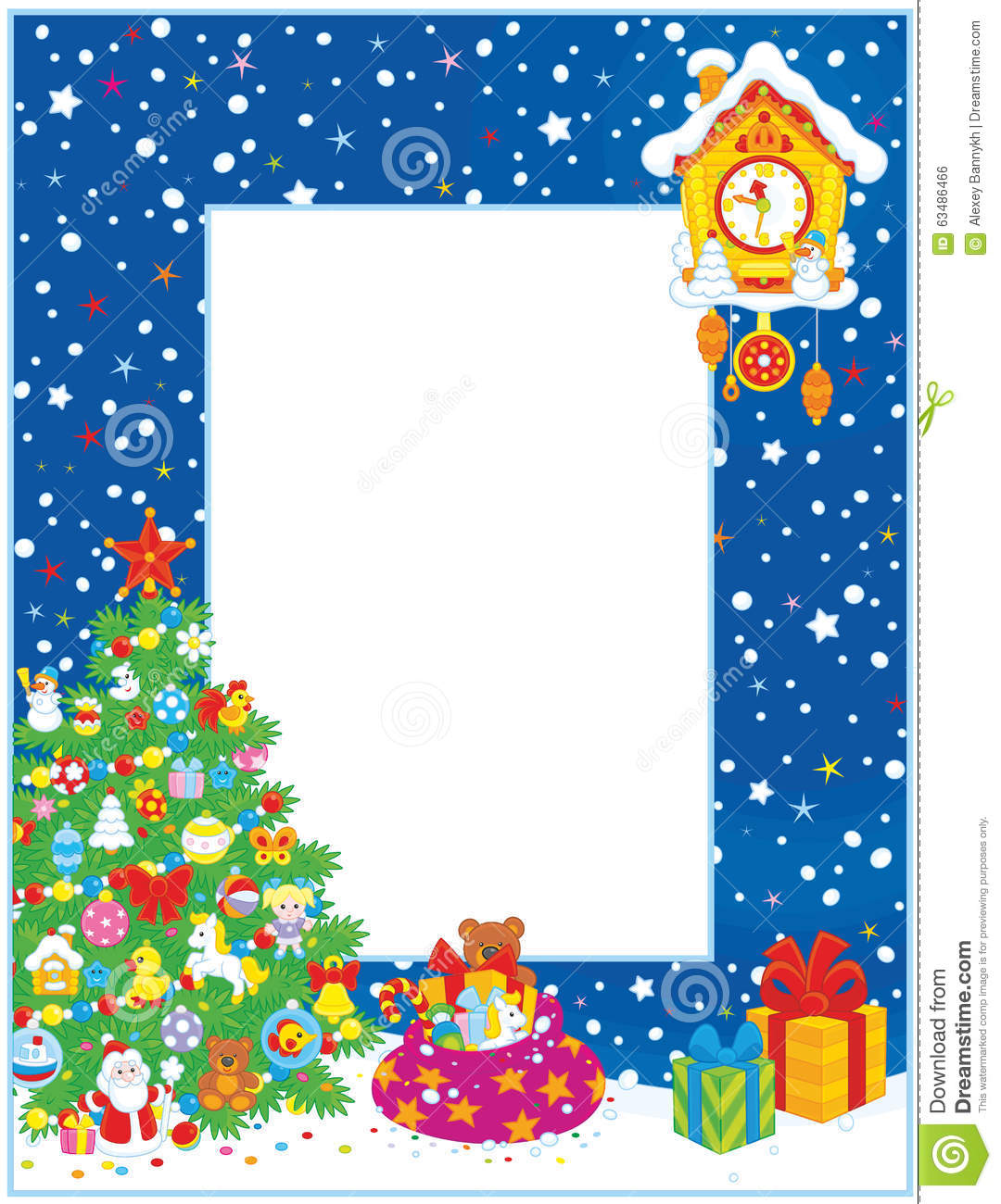 Christmas Toys Border : Border with christmas tree and gifts stock vector image