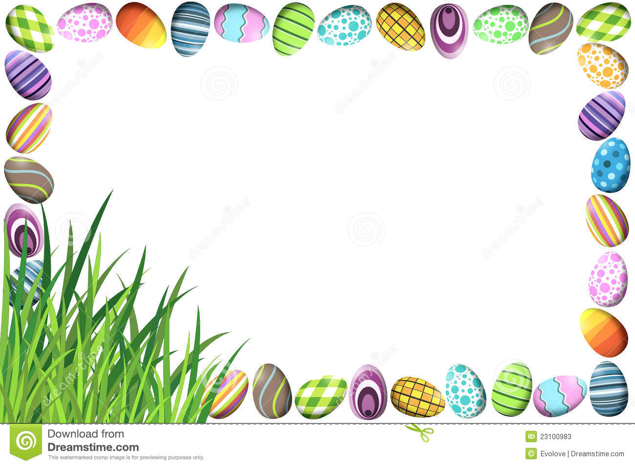Border With Colorful Easter Eggs