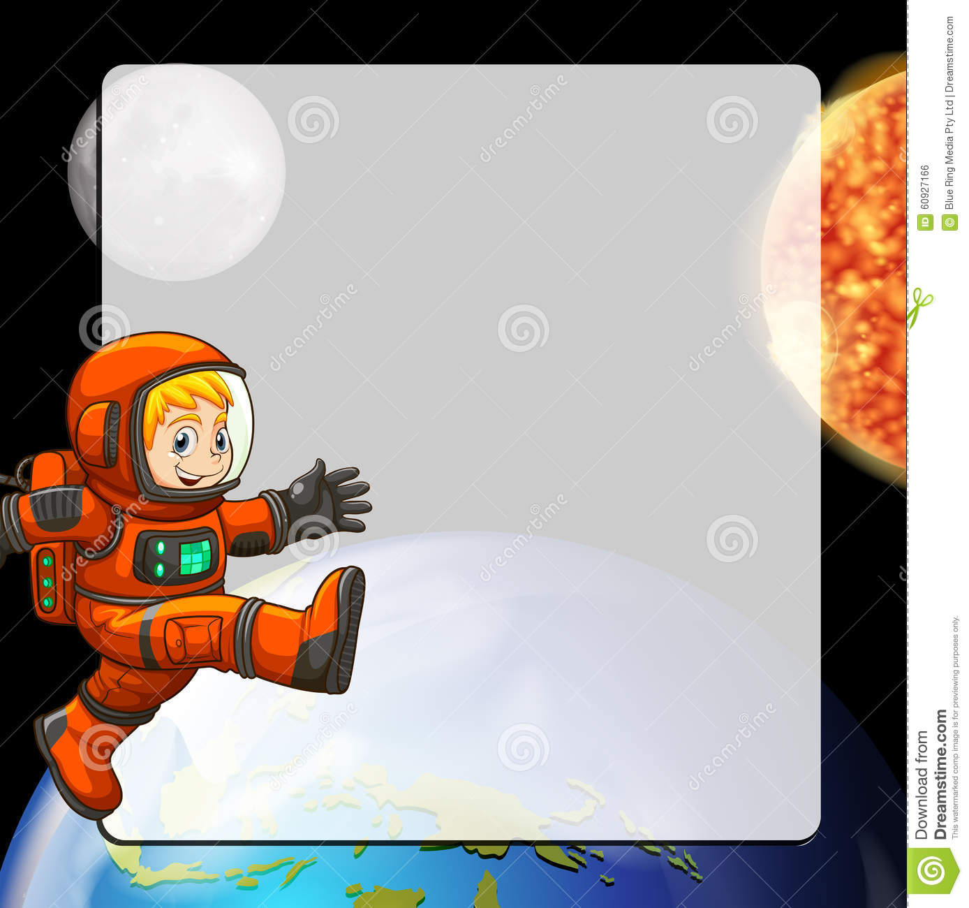 Cartoon Character Border Design : Border design with astronaut in space stock illustration