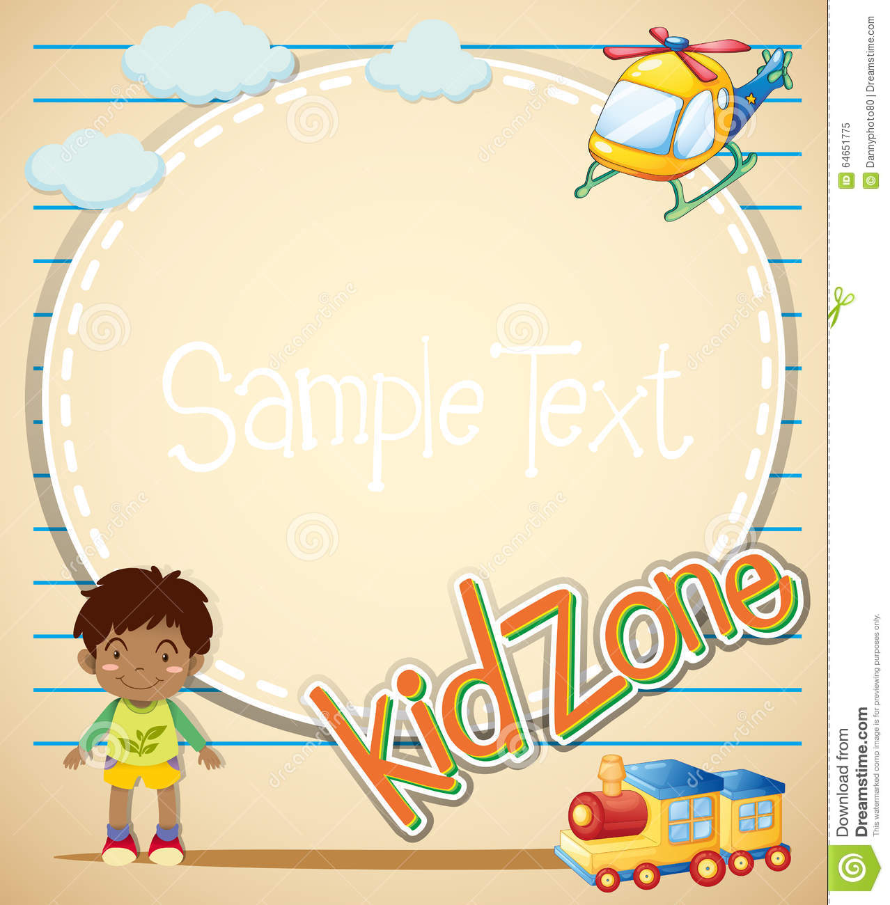 Little Boys Toys Border : Border design with boy and toys stock vector image
