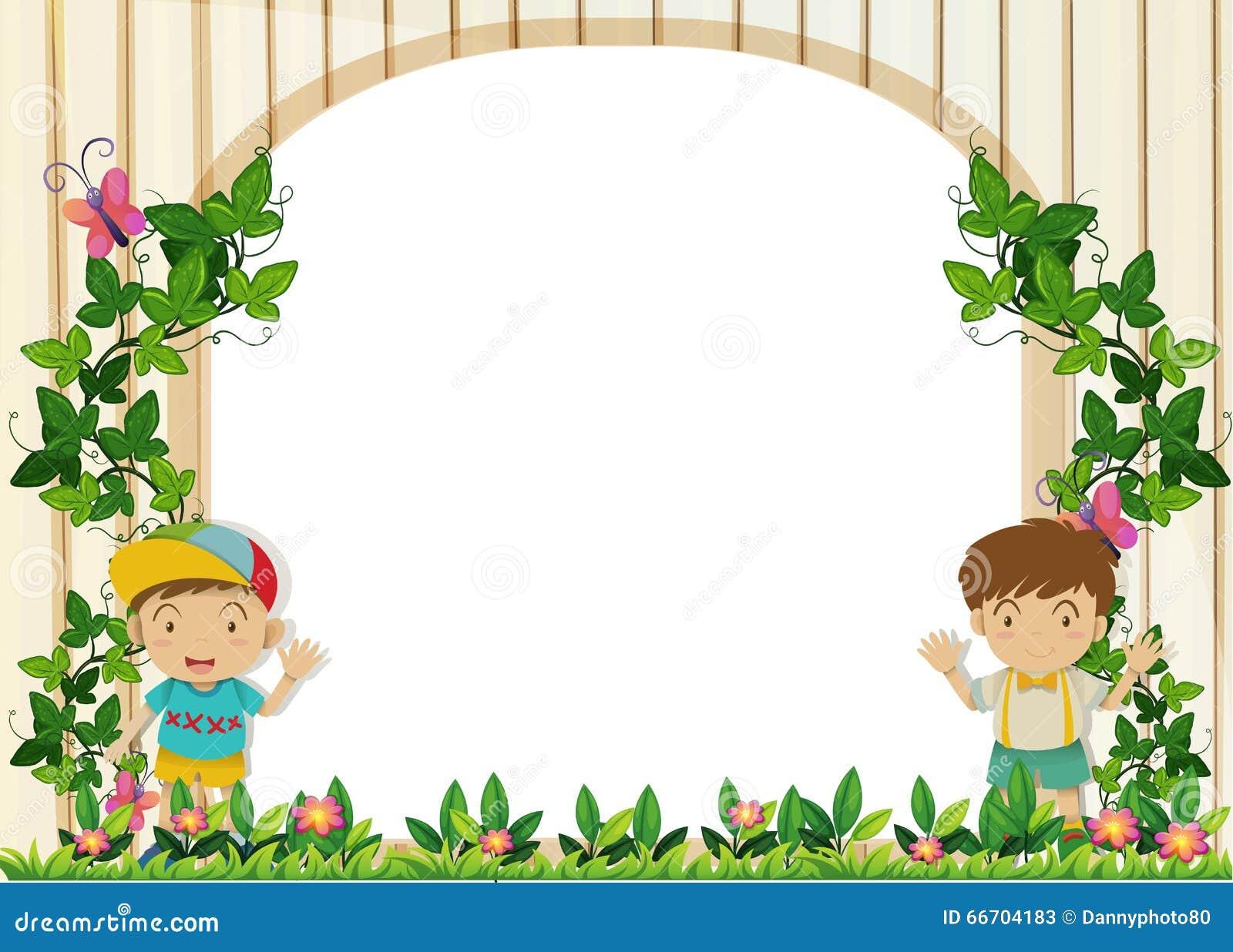 Border Design With Boys In The Garden Stock Vector Image