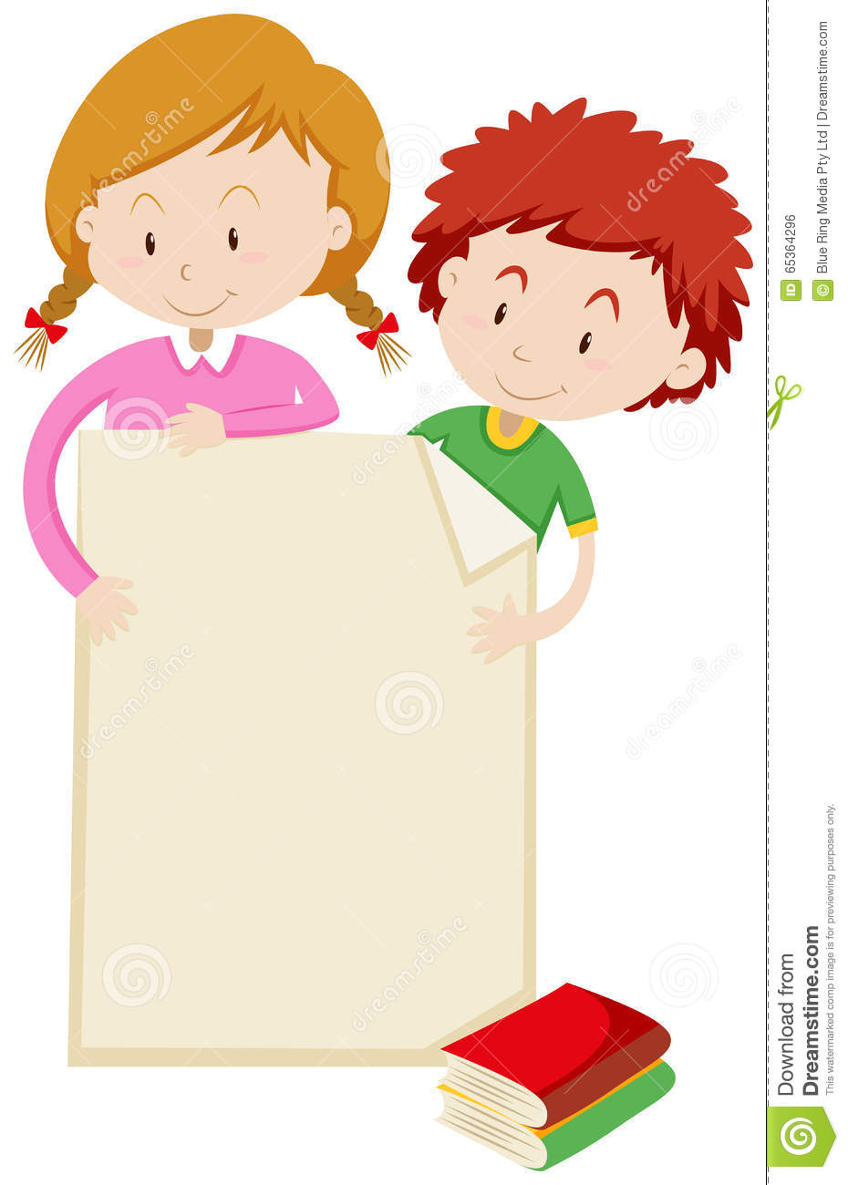Border Design With Children And Books Stock Vector ...