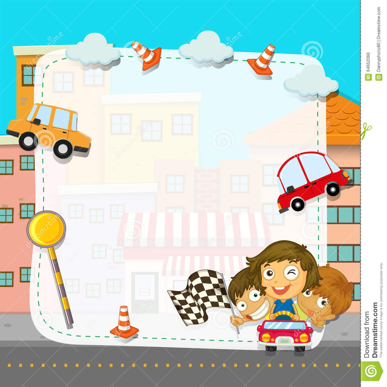 Border Design With Children And Traffic Stock Vector - Image: 64652066