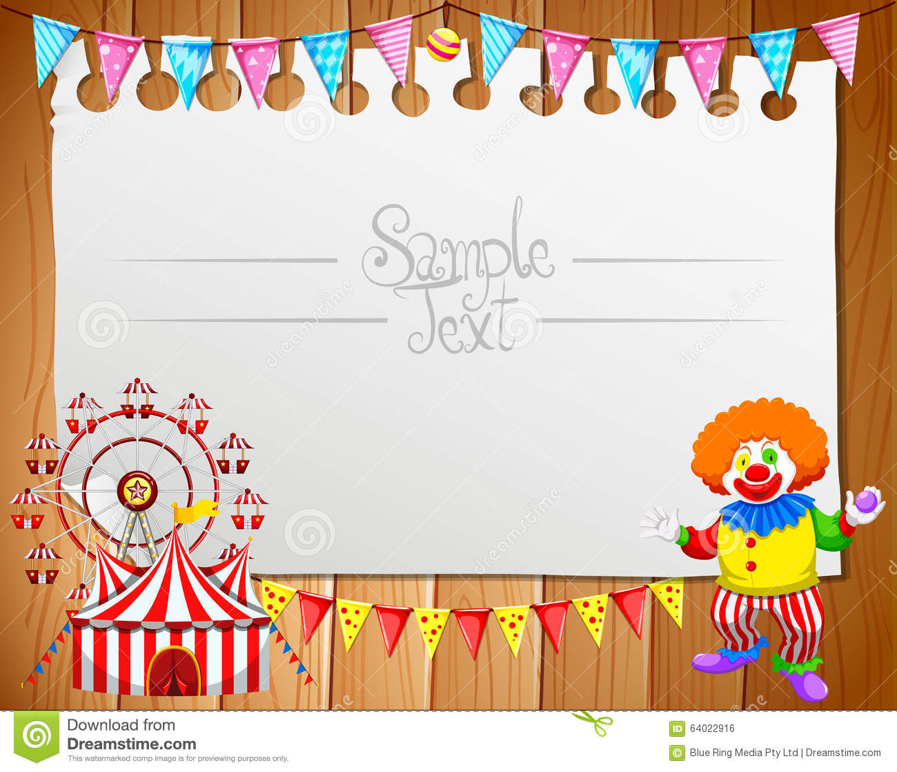 Border design with clown and circus stock vector image