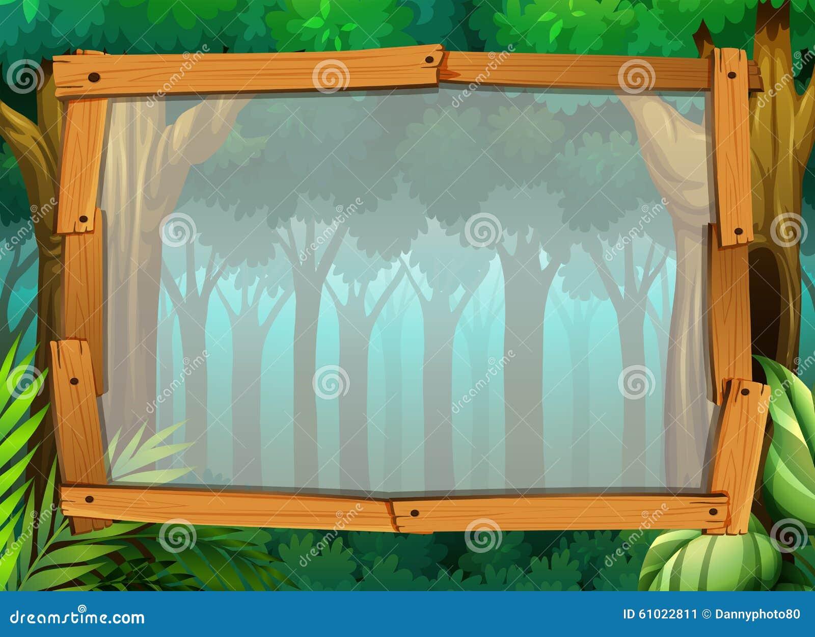 Border Design With Dark Forest Stock Vector - Illustration ...