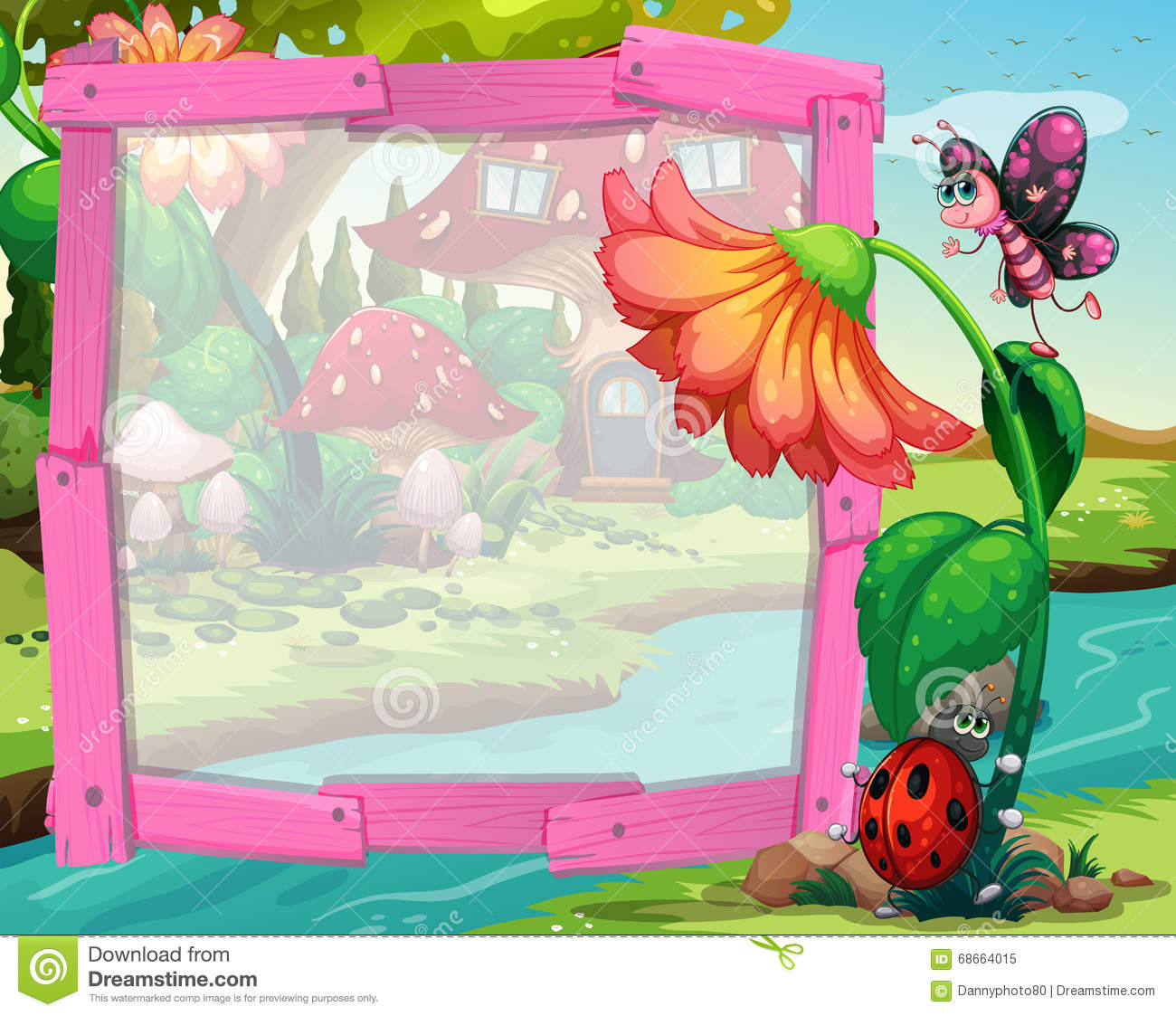 Cartoon Character Border Design : Border design with flower and insects stock vector