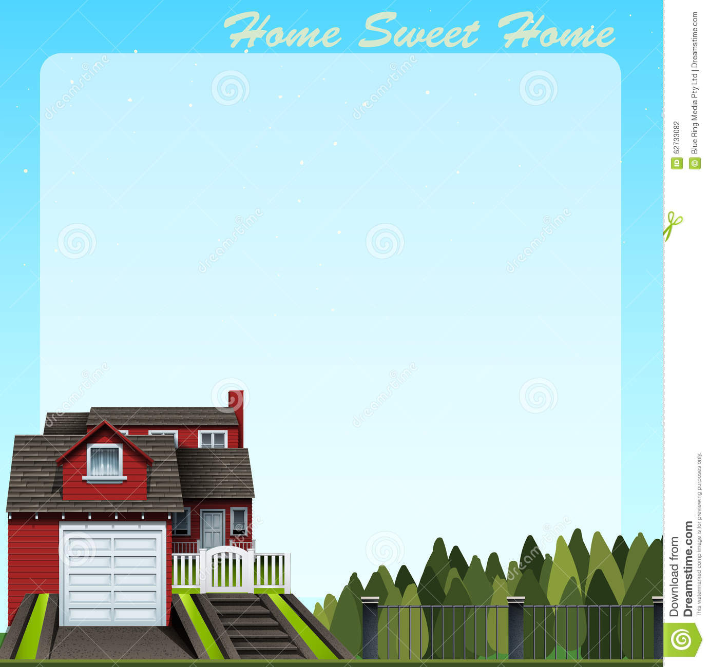 Border Design With Home Sweet Home Stock Vector Image 62733082