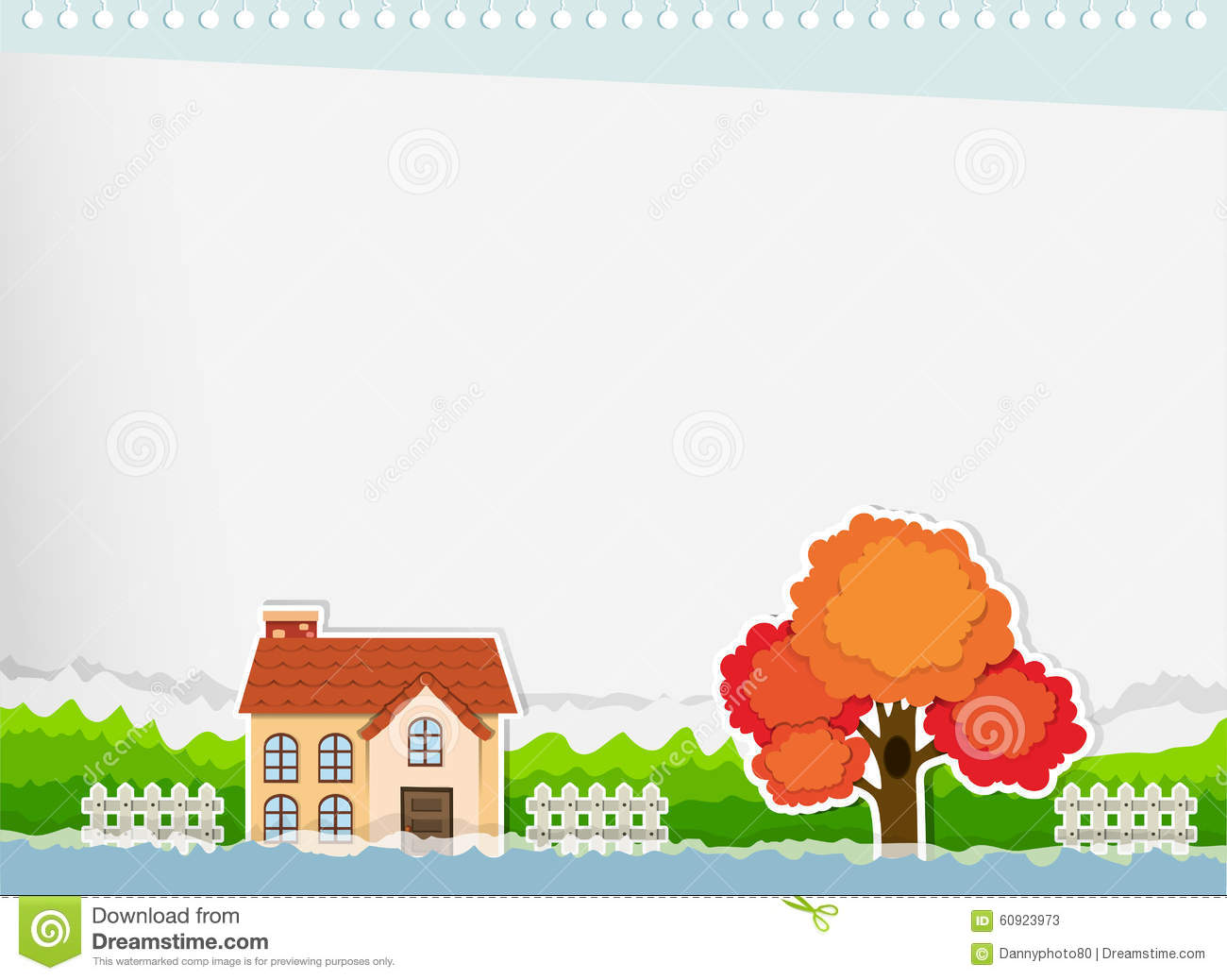 Border Design With A House Stock Illustration