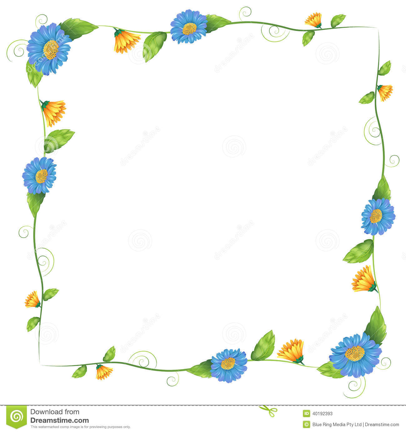 A Border Design Made Of Flowering Plants Stock Vector