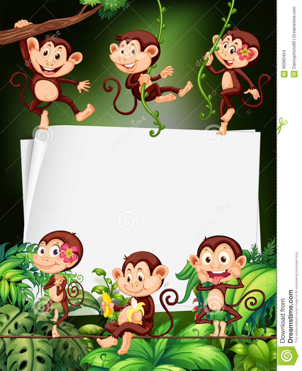 Border Design With Monkeys In The Forest Stock Vector