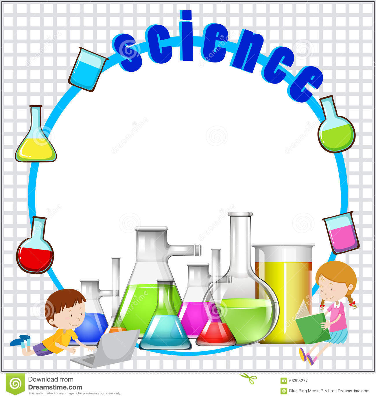 Science Laboratory Background Design: Border Design With Science Equipment Stock Vector