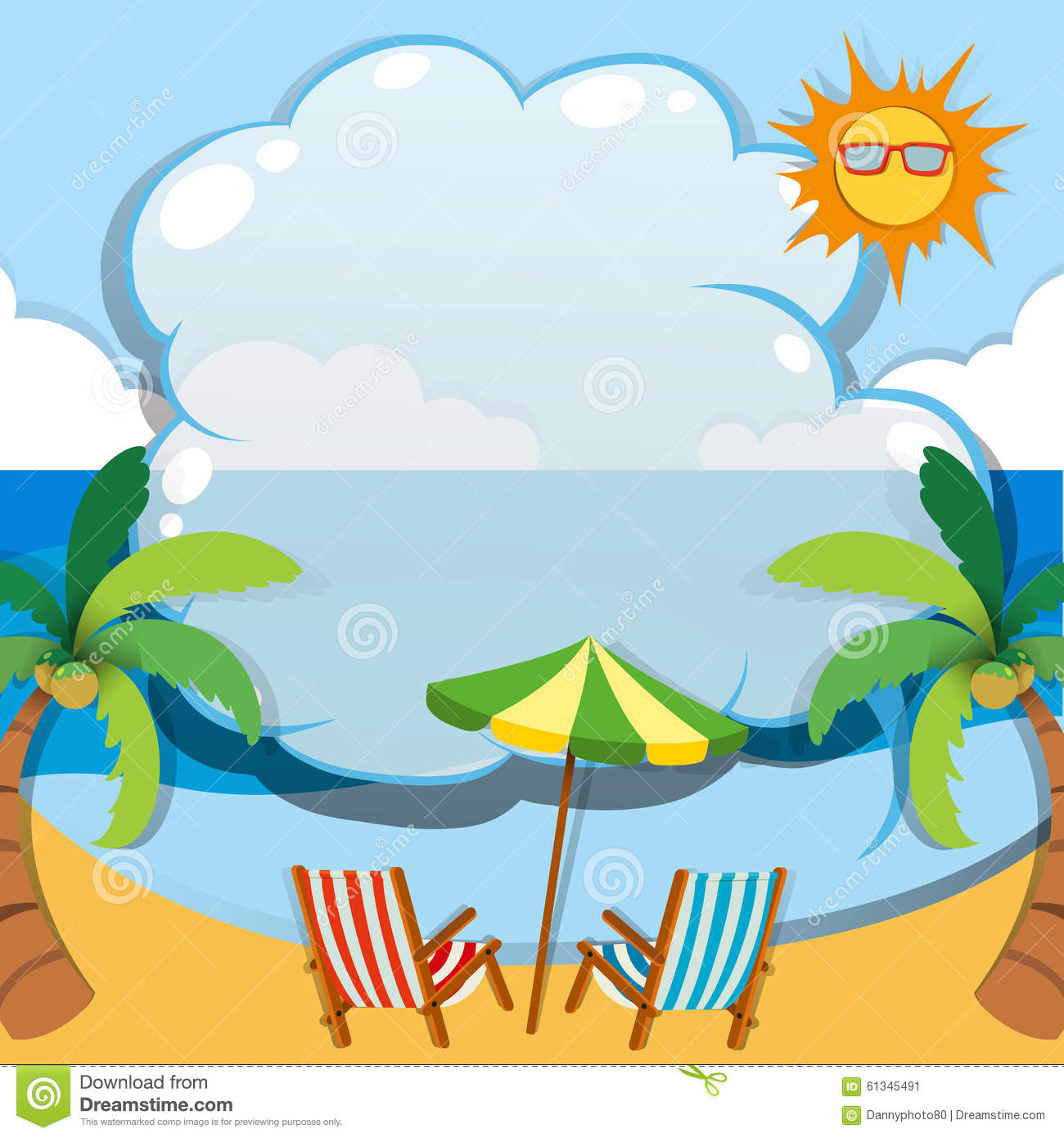 border design with summer theme stock vector image 61345491