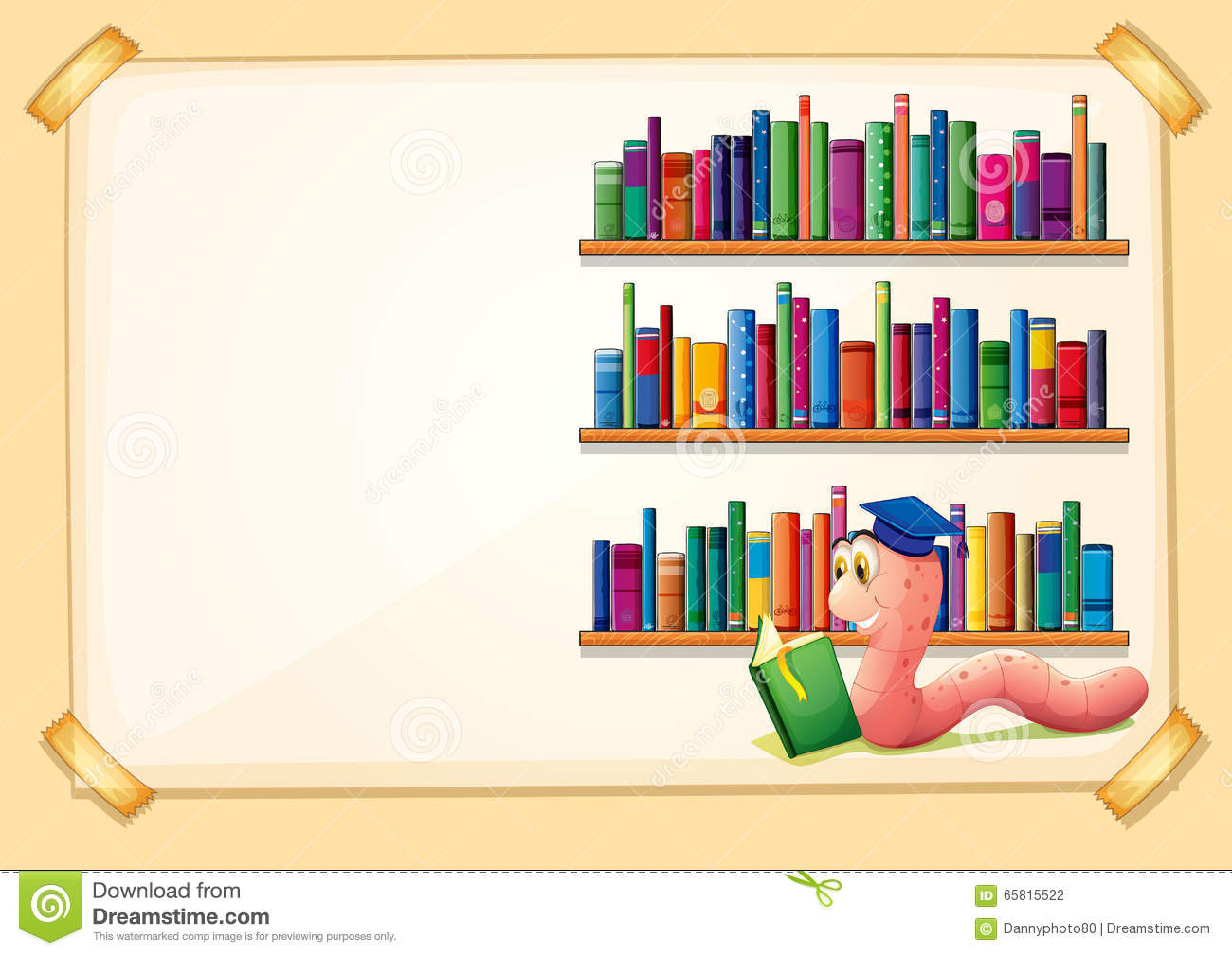 Border Design With Worm Reading Book Stock Vector Image 65815522