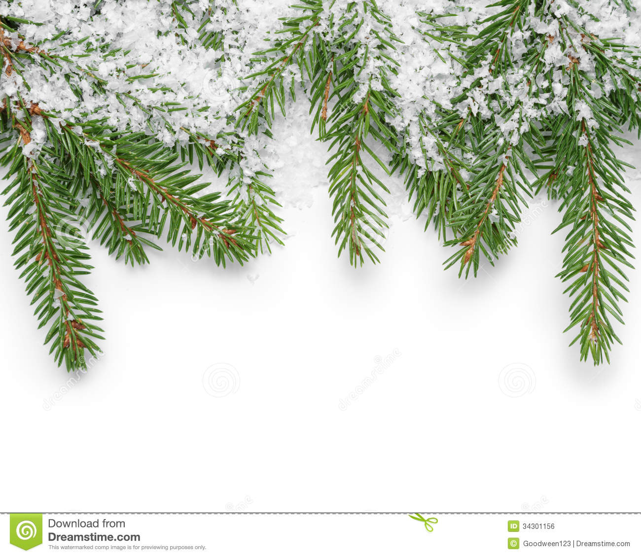Border from fir twigs and fake snow