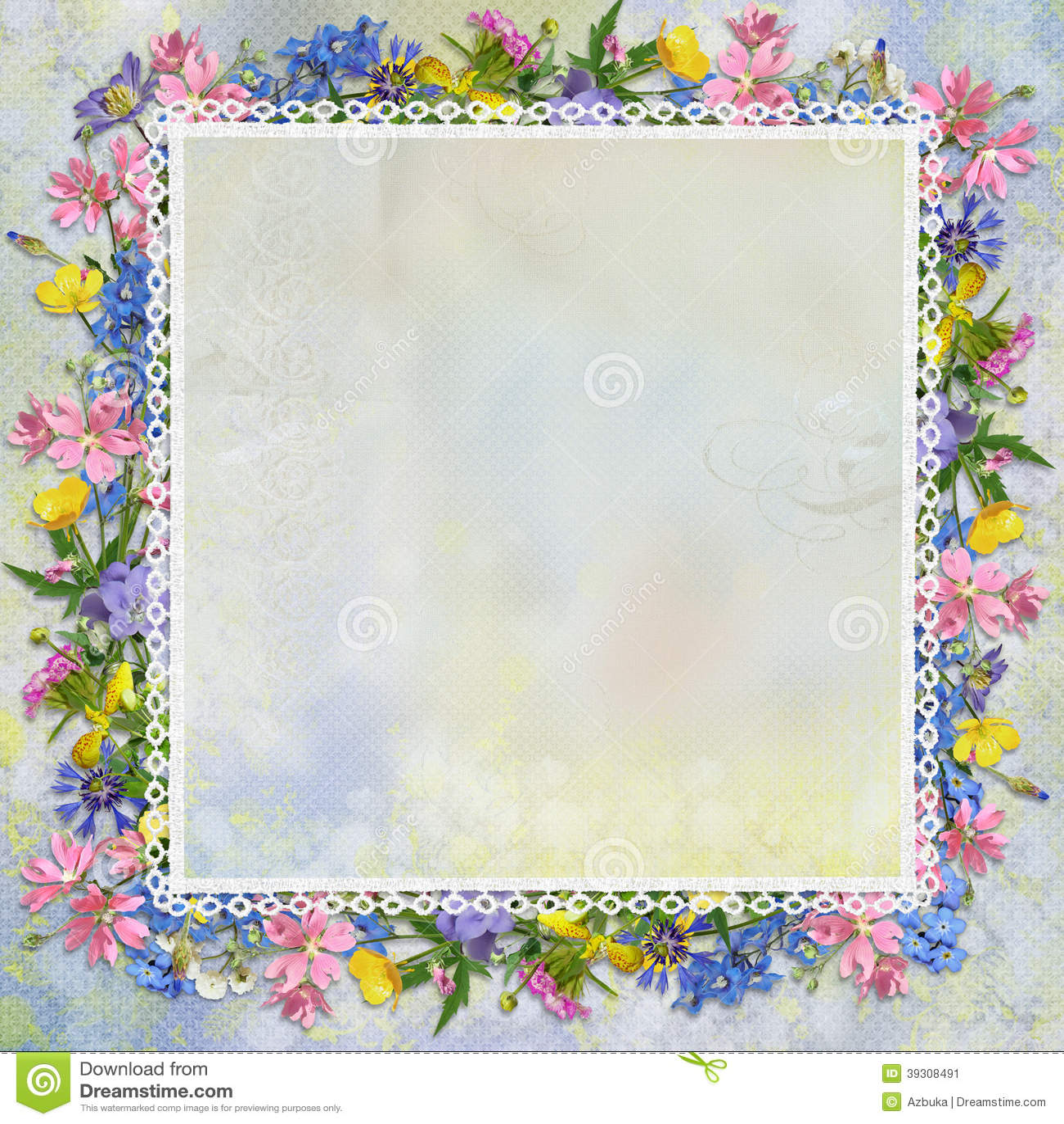 Border of flowers on a gentle background stock illustration border of flowers on a gentle background mightylinksfo