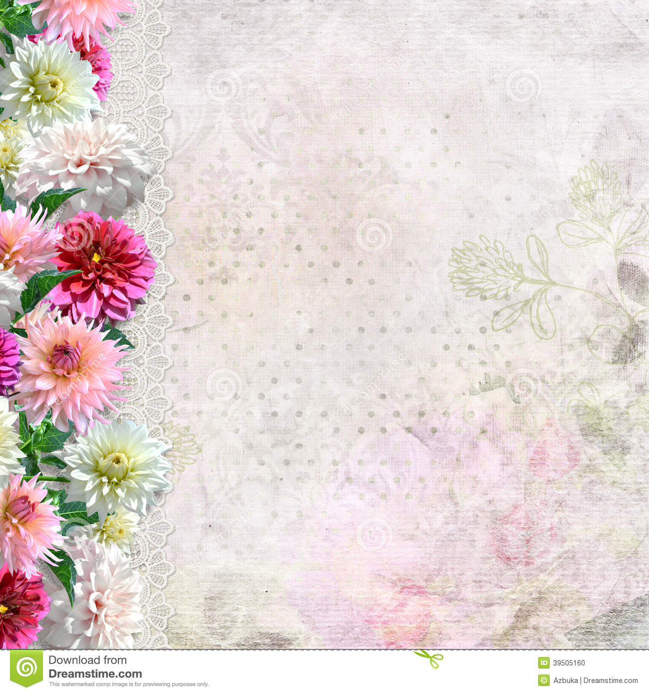 Border of flowers on a gentle background