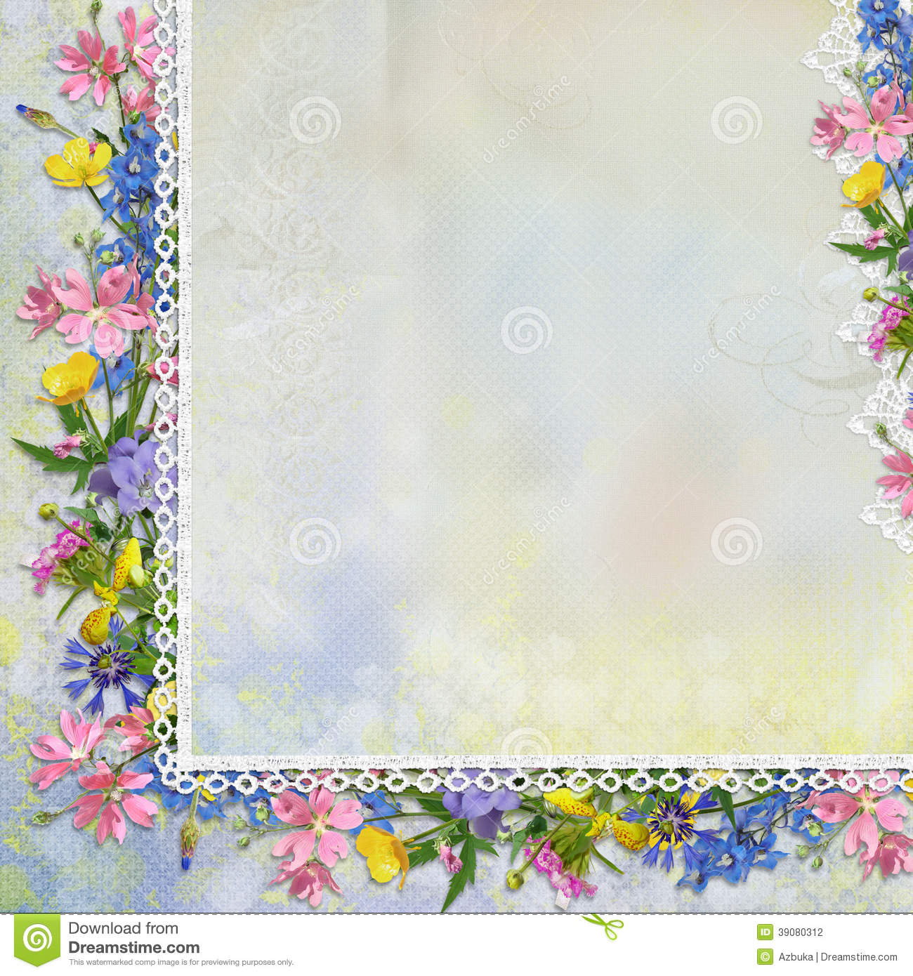 Border Of Flowers With Lace On Vintage Background Stock Illustration