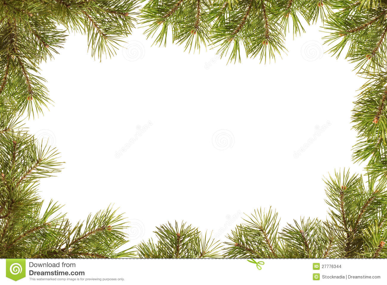 Border, Frame From Christmas Tree Branches Stock Images - Image ...