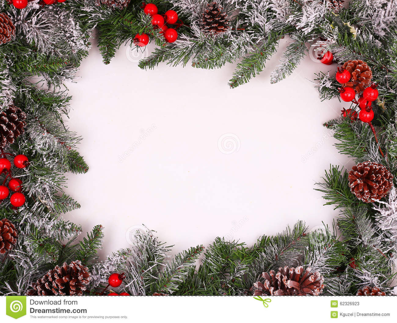 Border, Frame From Christmas Tree Branches With Pine Cones Stock ...